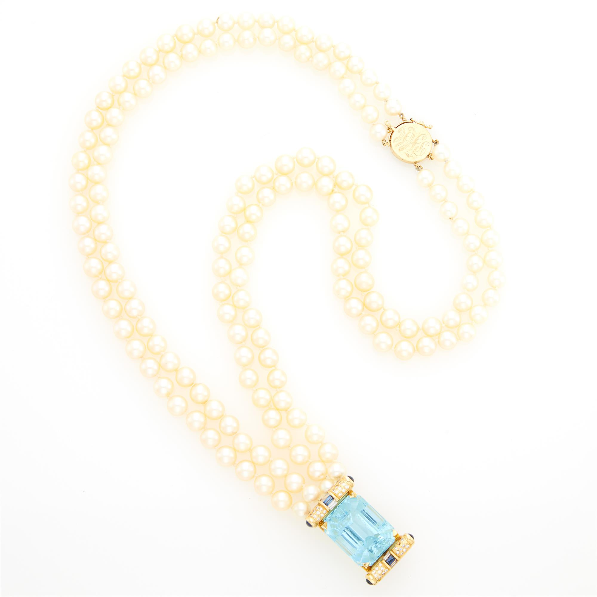 Lot image - Double Strand Cultured Pearl, Gold, Aquamarine, Diamond and Sapphire Pendant-Necklace