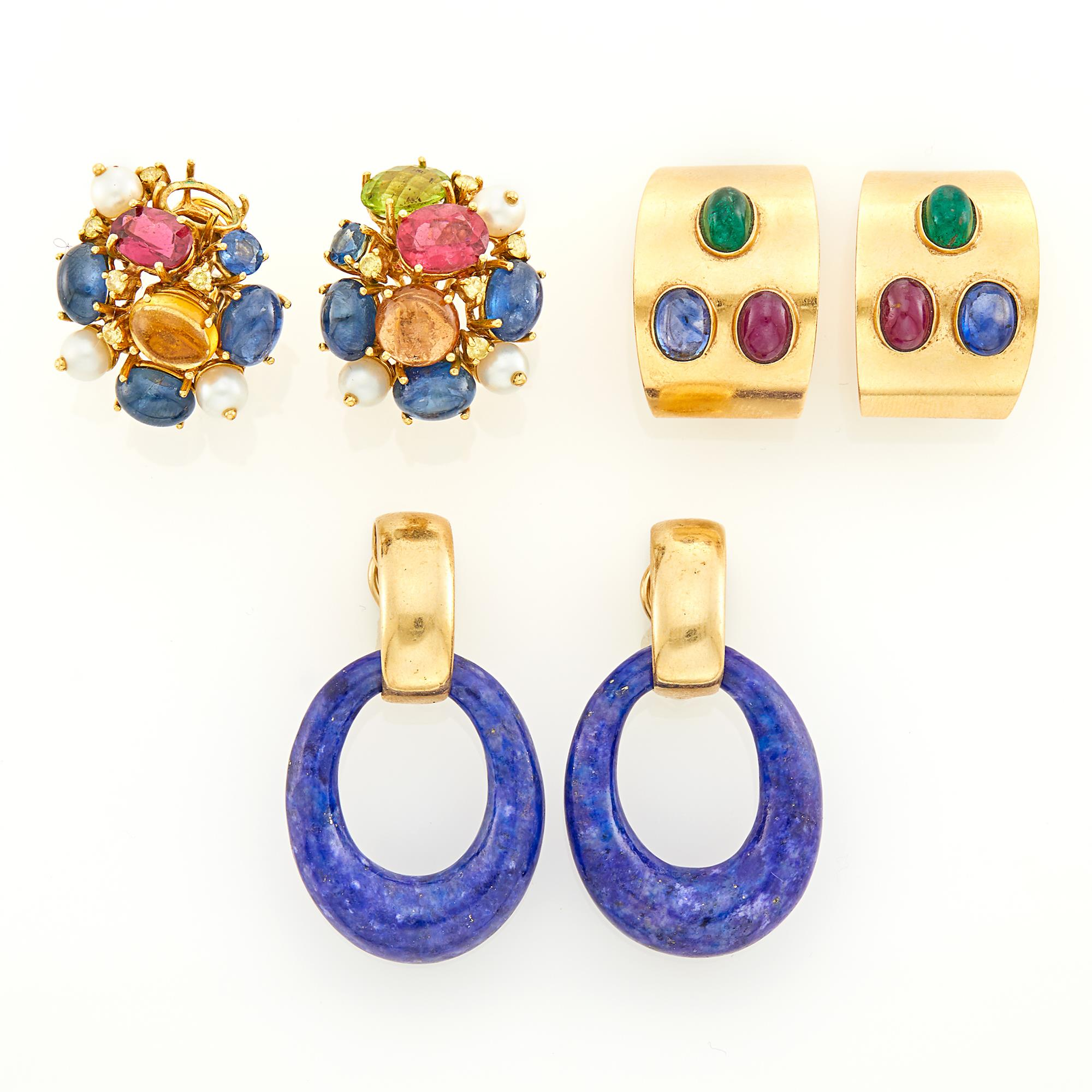 Lot image - Pair of Gold and Lapis Hoop Earrings and Two Pairs of Gem-Set Earclips