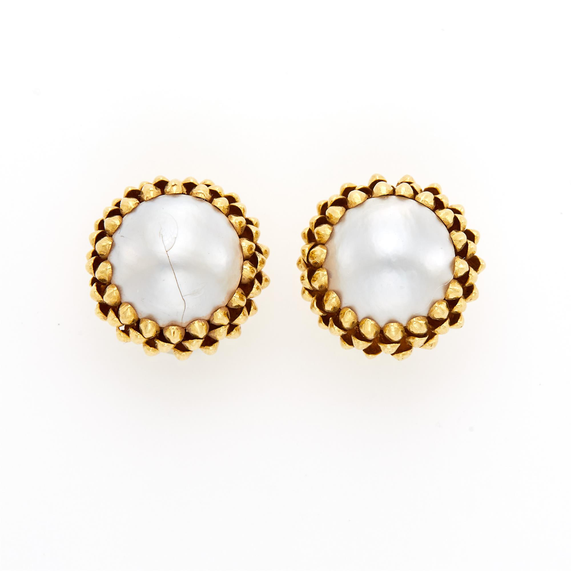 Lot image - Cellino Pair of Gold and Mabé Pearl Earclips