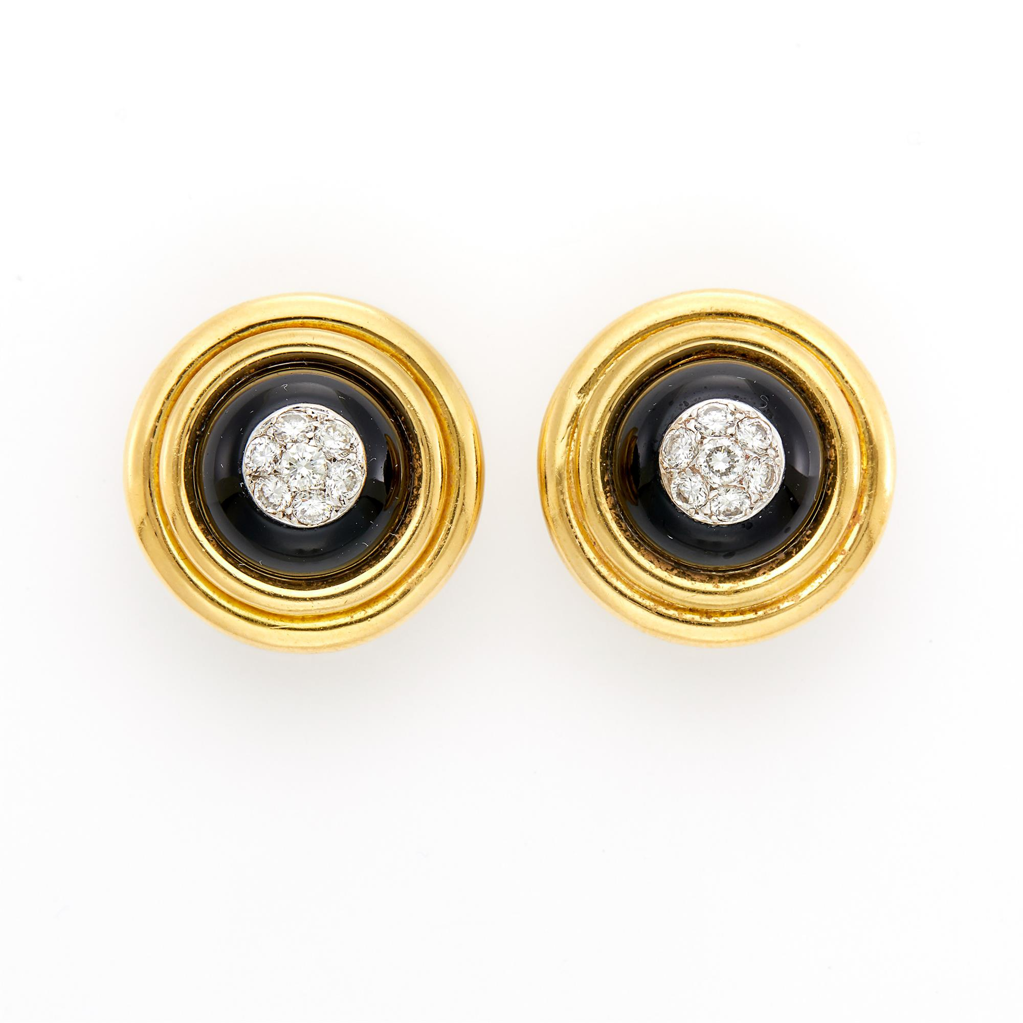 Lot image - Pair of Two-Color Gold, Black Onyx and Diamond Dome Earclips