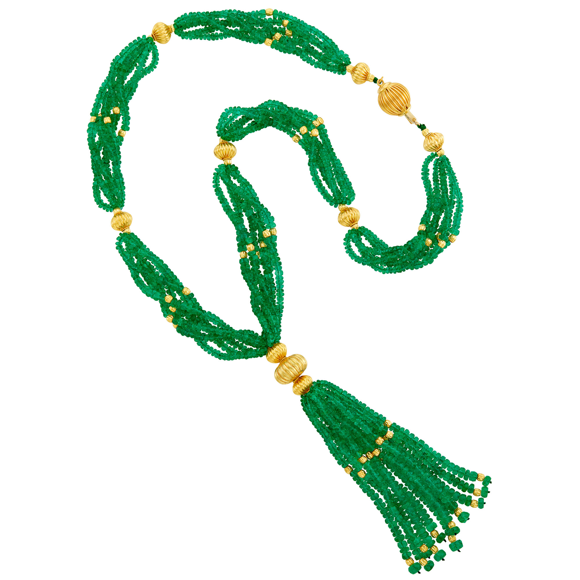 Lot image - Six Strand Emerald and Fluted Gold Bead Sautoir