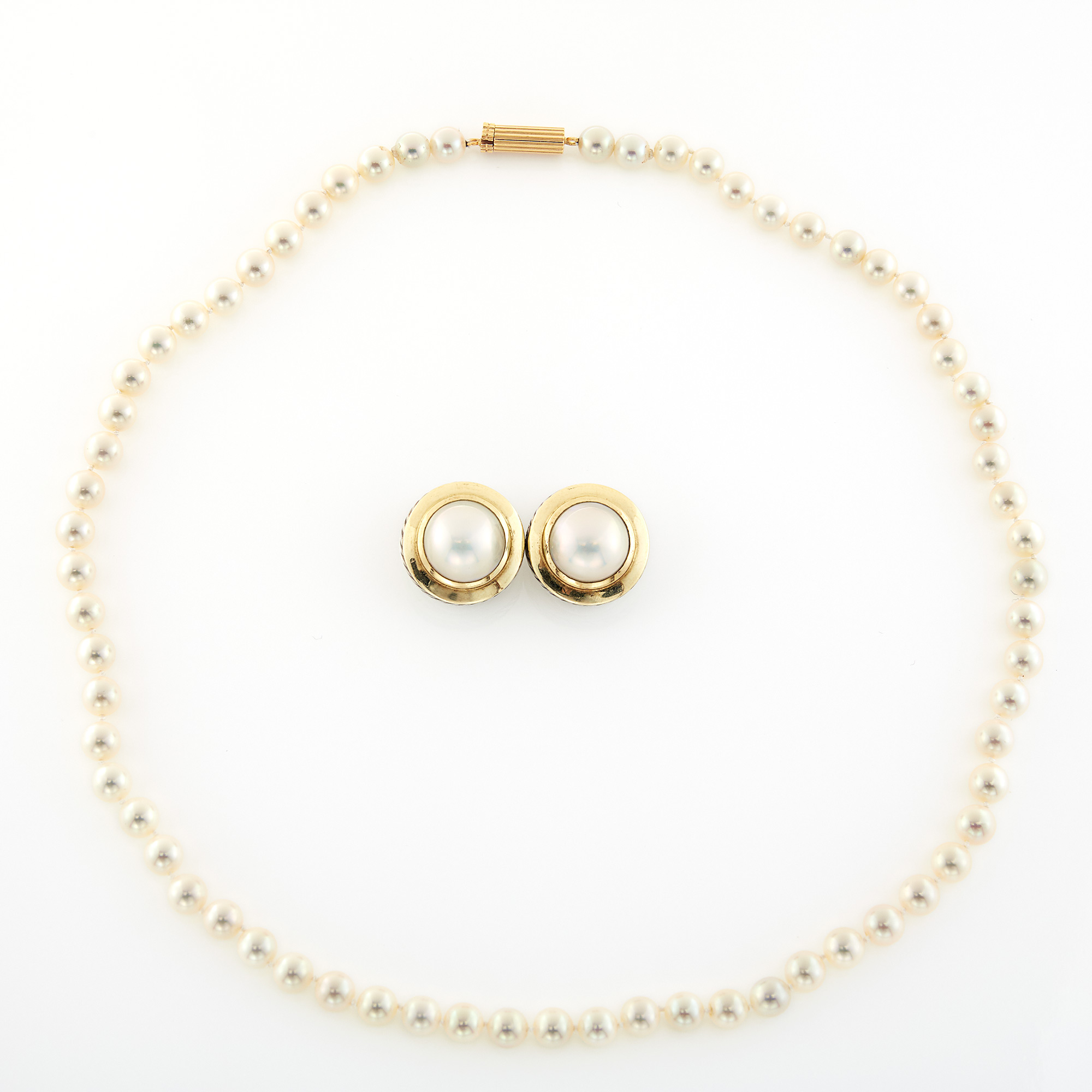 Lot image - David Yurman Pair of Sterling Silver, Gold and Mabé Pearl Earclips and Cultured Pearl Necklace with Gold Clasp