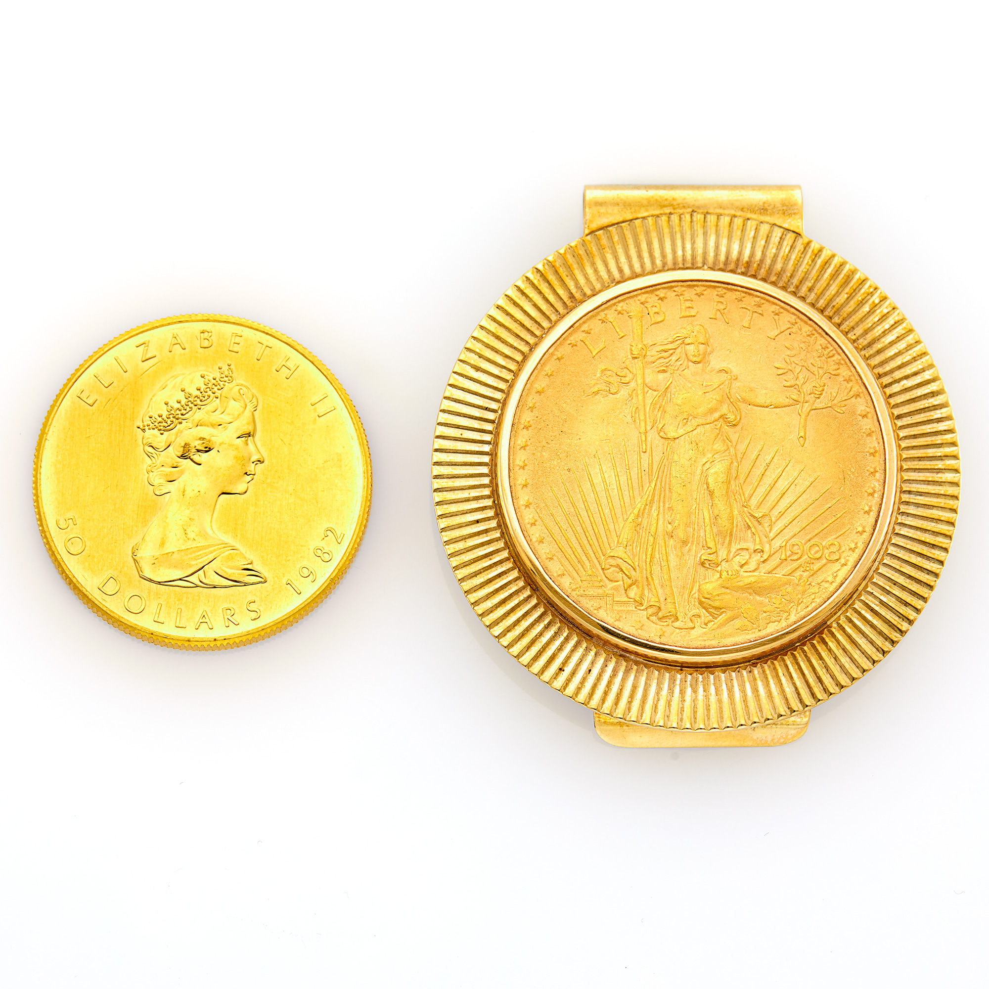 Lot image - Gold Coin and Gold and Tiffany & Co. Gold Coin Money Clip