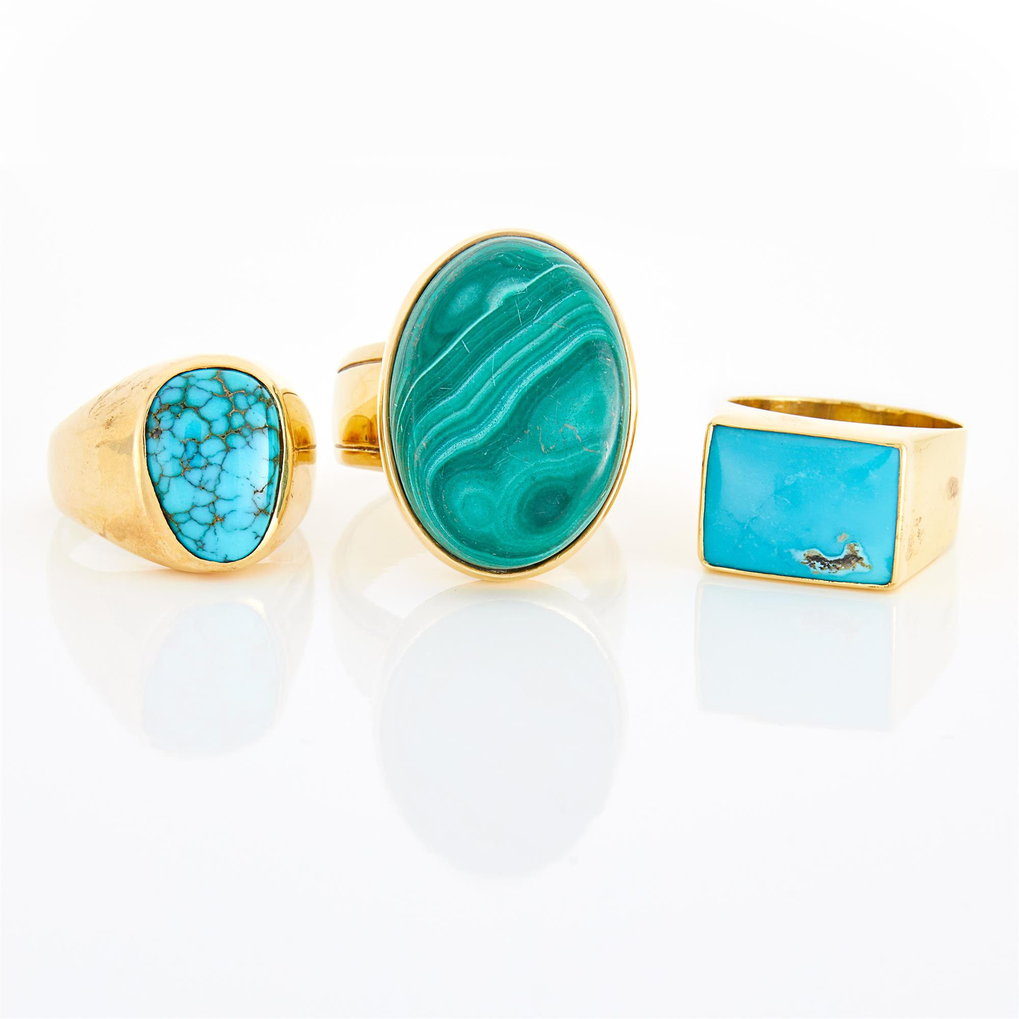 Lot image - Three Gold, Turquoise and Malachite Rings