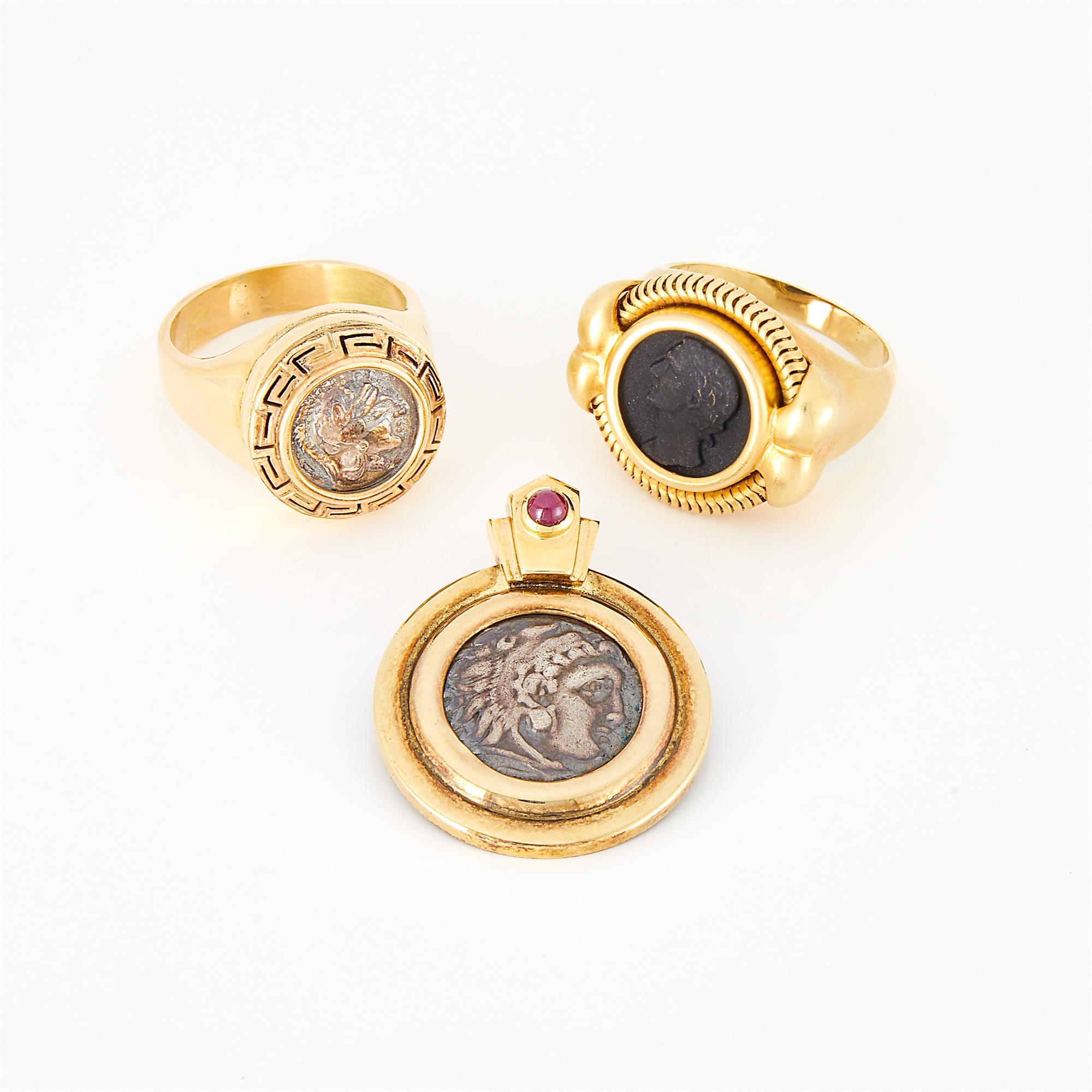 Lot image - Gold, Silver and Coin Pendant and Two Rings