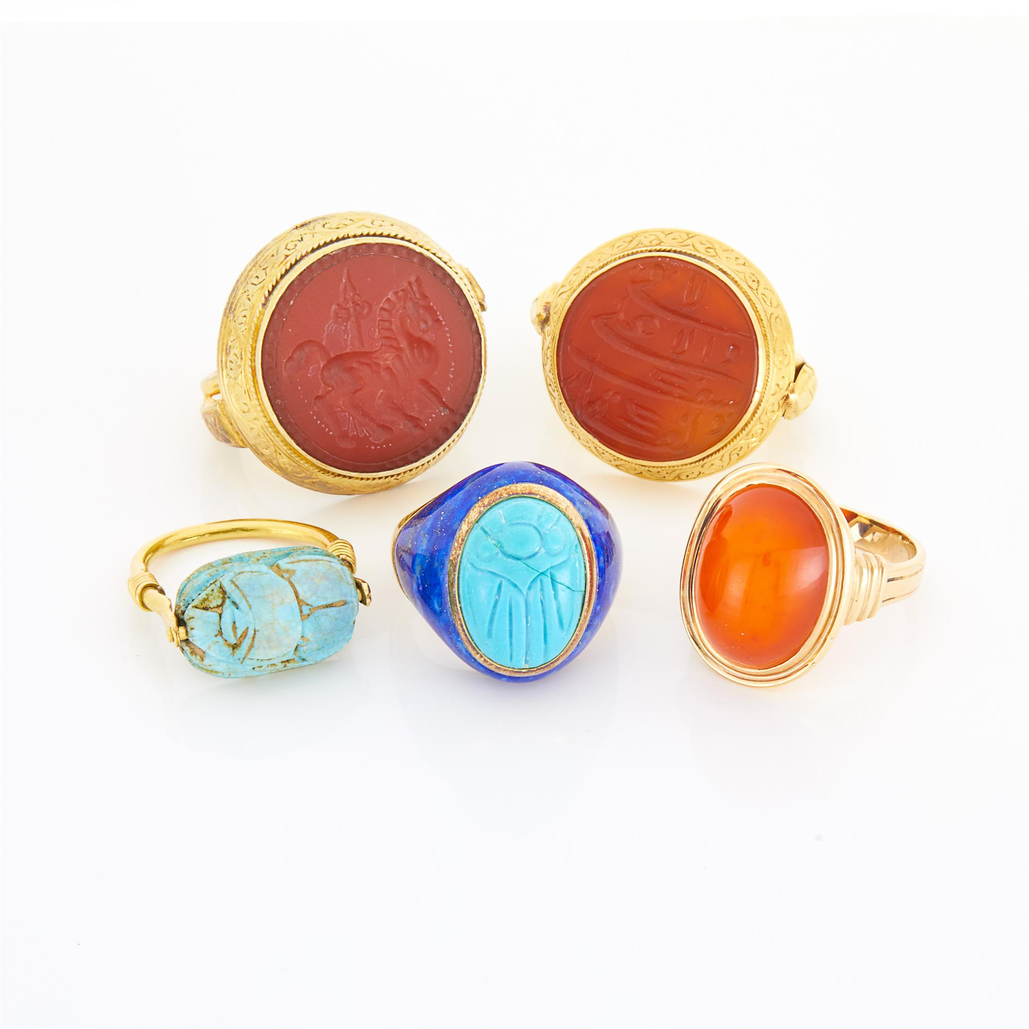 Lot image - Five Gold, Low Karat Gold, Sterling Silver and Hardstone Rings