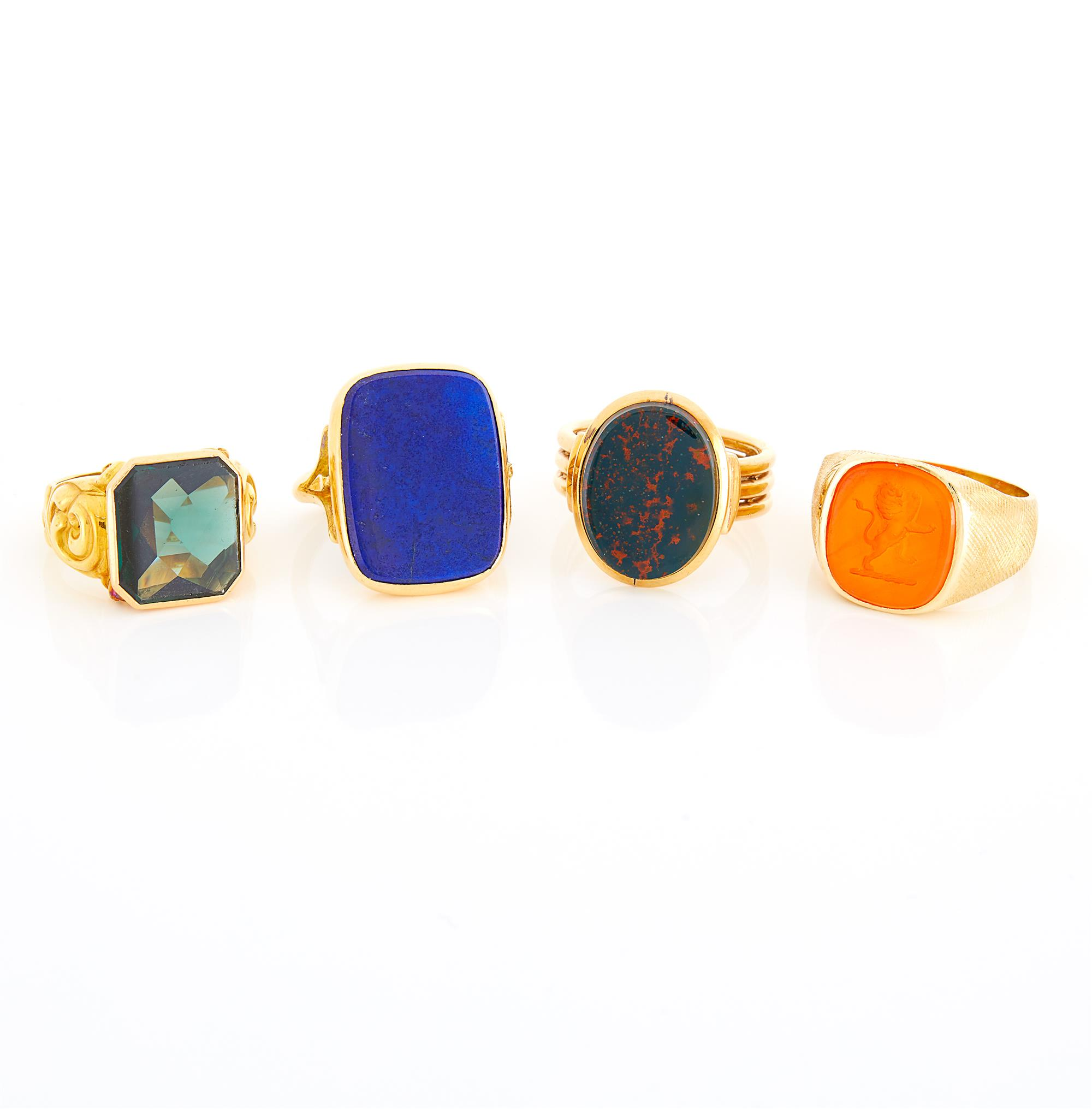 Lot image - Four Gold, Lapis, Bloodstone, Green Tourmaline and Intaglio Rings