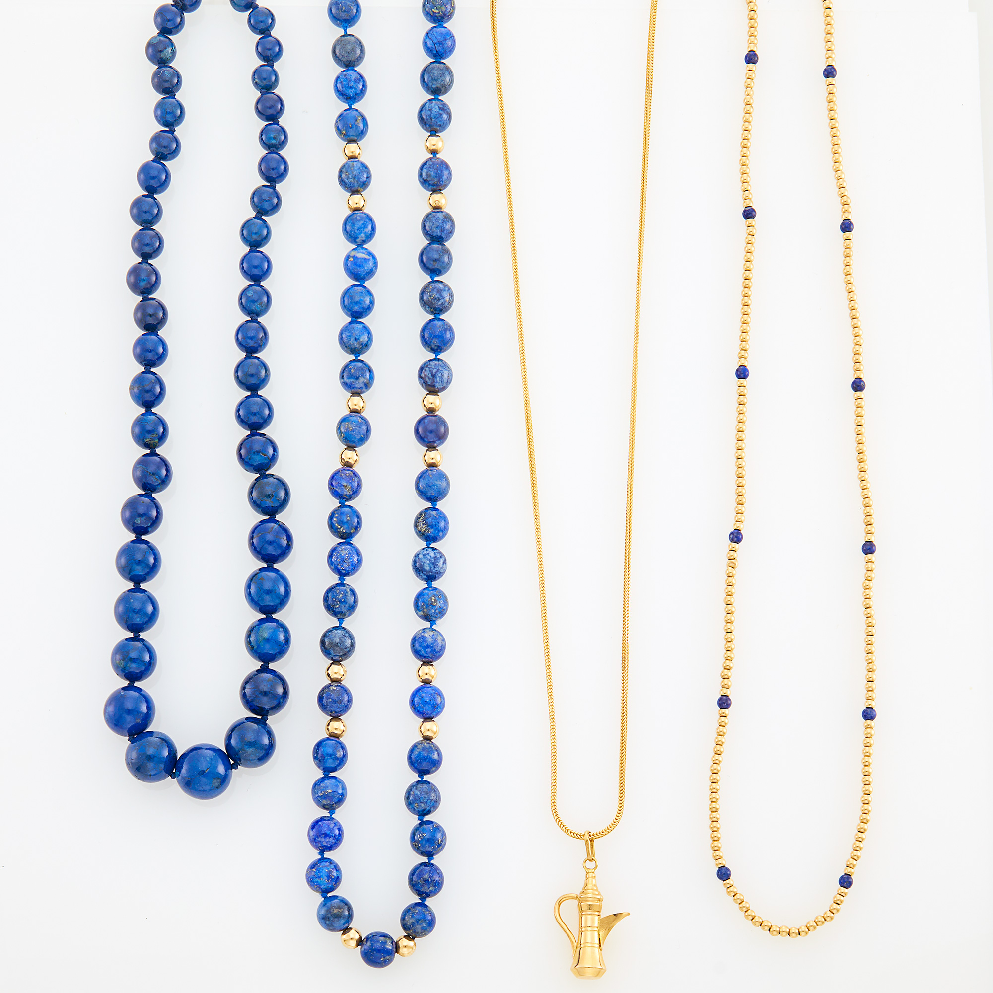 Lot image - Three Lapis and Gold Bead Necklaces and Gold Pendant-Necklace