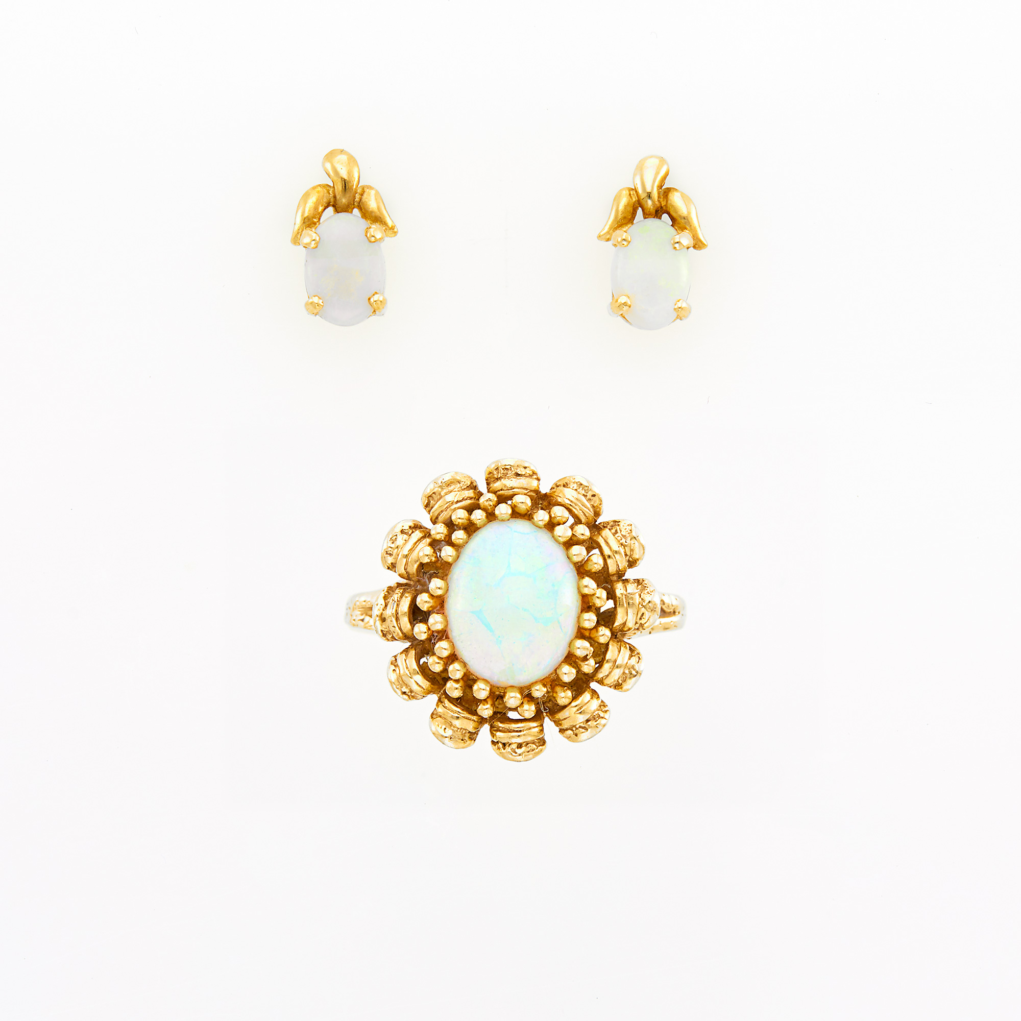 Lot image - Pair of Gold and Opal Stud Earrings and Ring