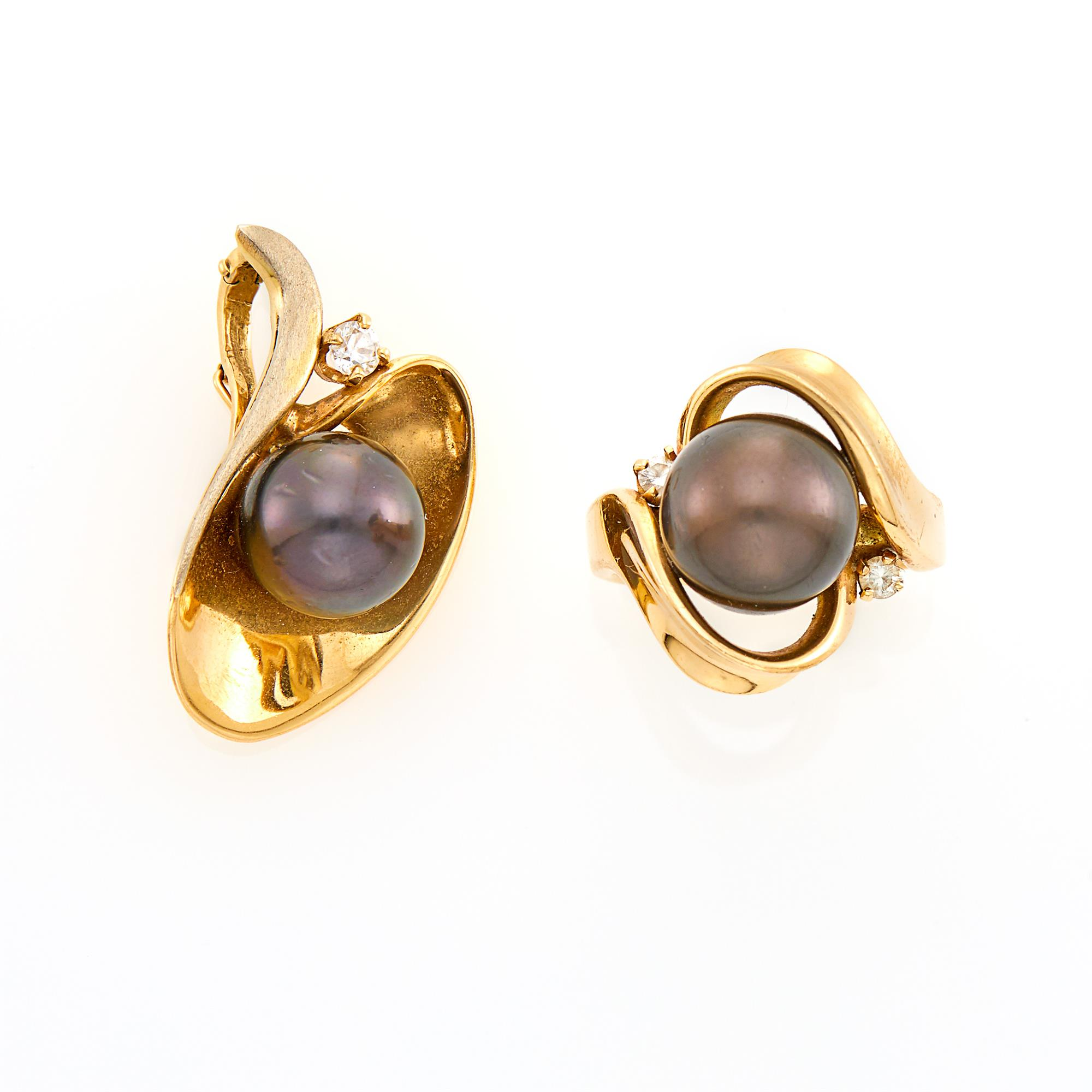 Lot image - Gold, Dyed Black Cultured Pearl and Diamond Ring and Pendant