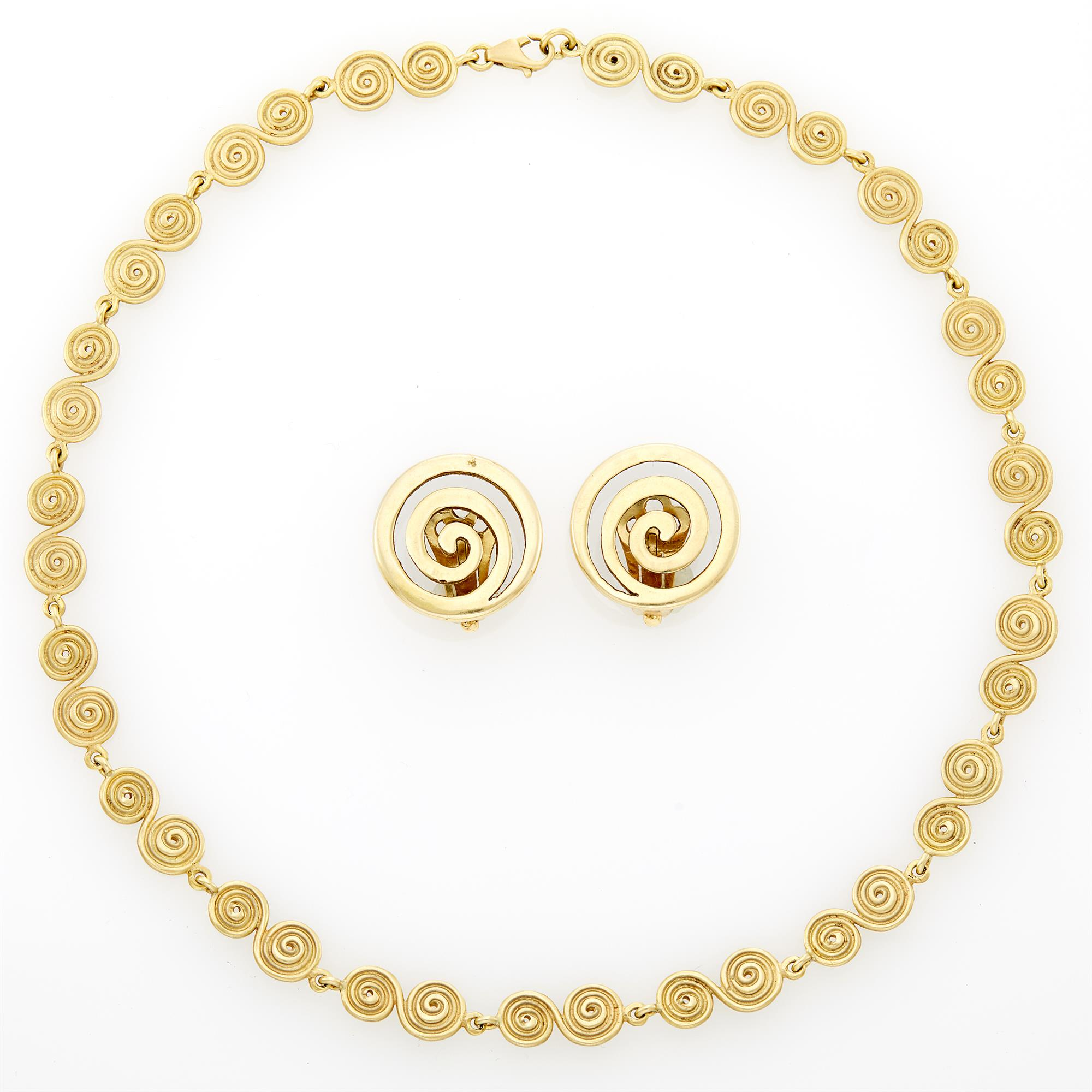 Lot image - Pair of Gold Spiral Earclips and Gold Spiral Link Necklace