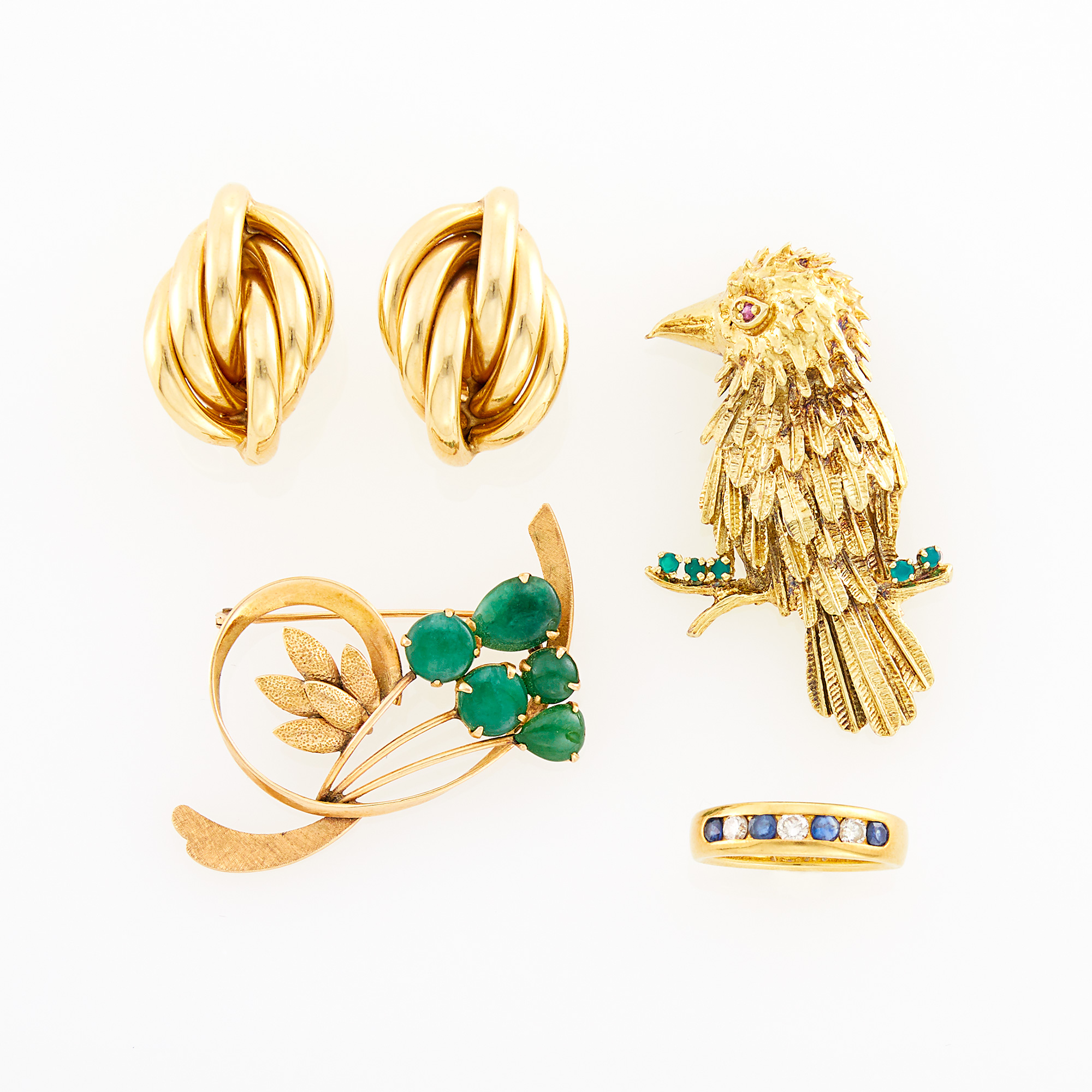 Lot image - Gold, Diamond and Sapphire Ring, France, Two Gold and Gem-Set Brooches and Pair of Earclips