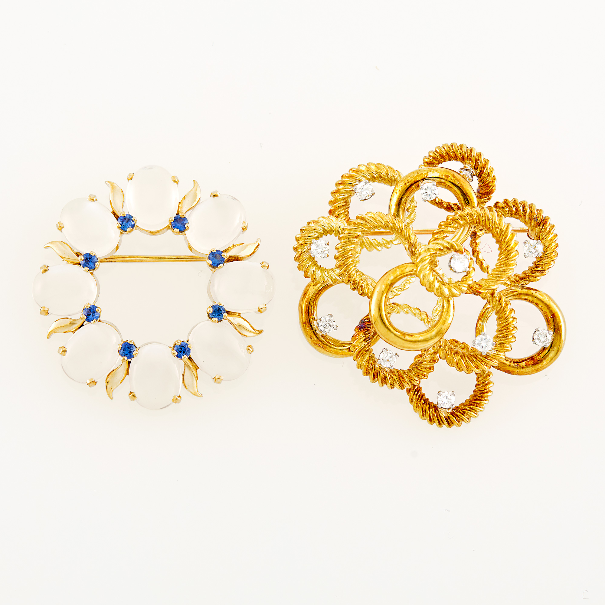 Lot image - Two Gold, Diamond, Sapphire and Moonstone Brooches