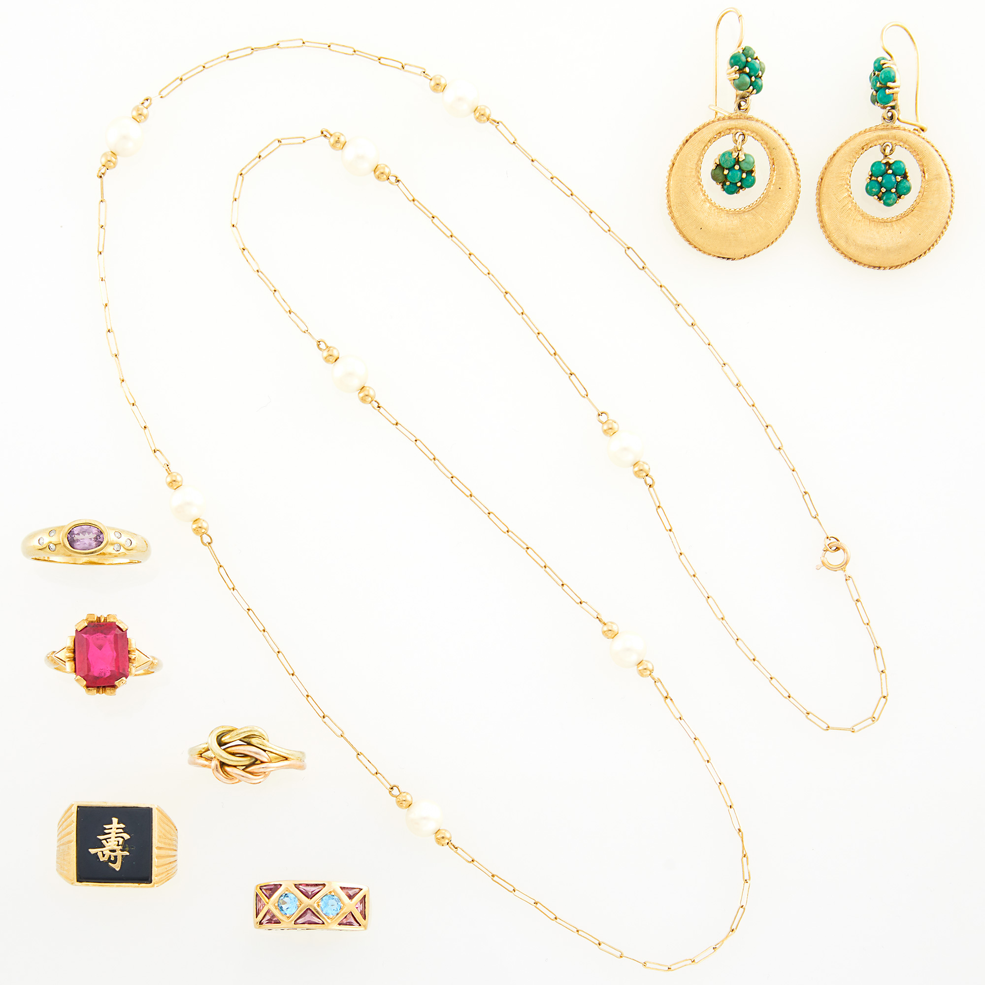 Lot image - Five Two-Color Gold, Low Karat Gold, Gem-Set and Stone Rings, Necklace and Pair of Gold and Turquoise Pendant-Earrings