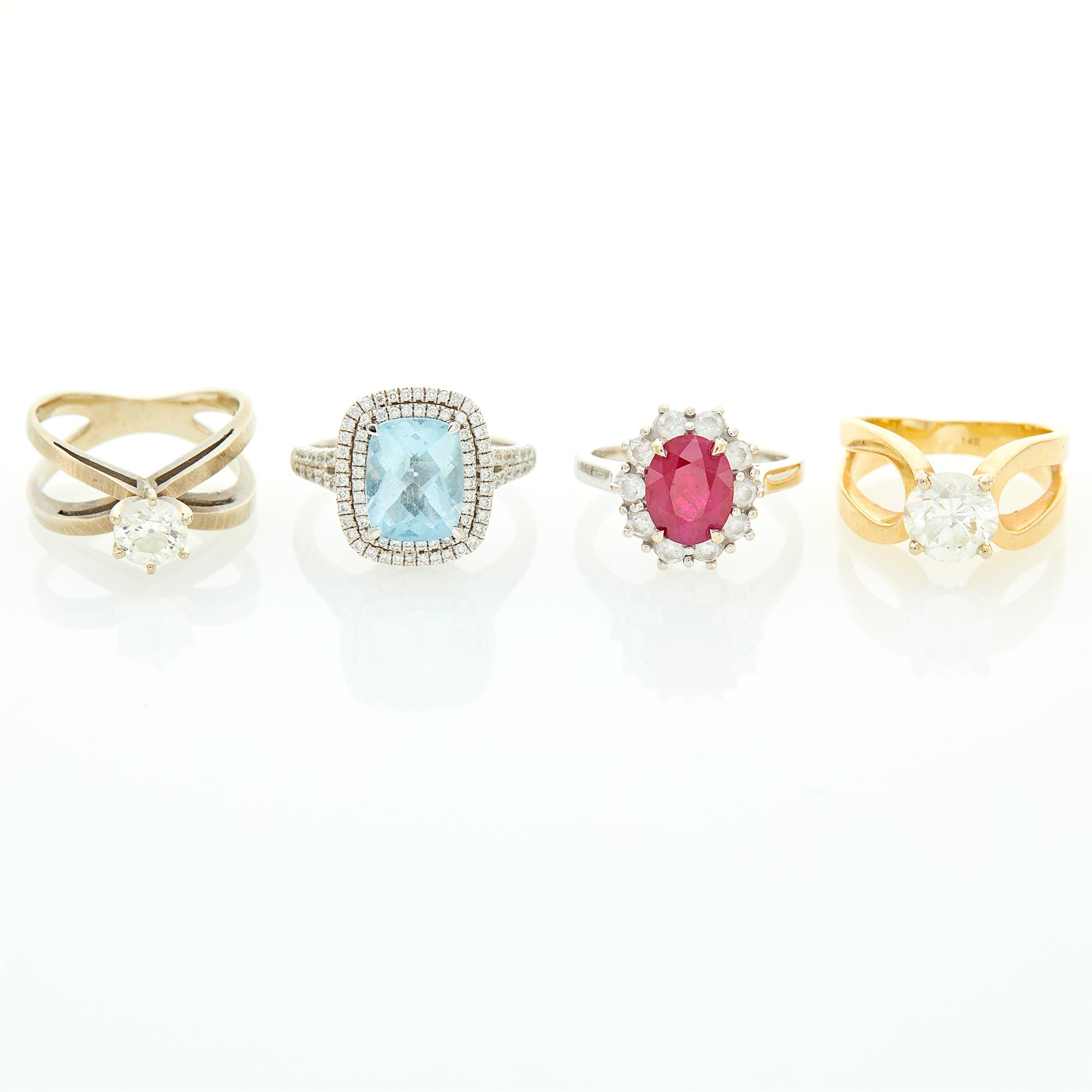 Lot image - Four White and Yellow Gold, Diamond and Gem-Set Rings