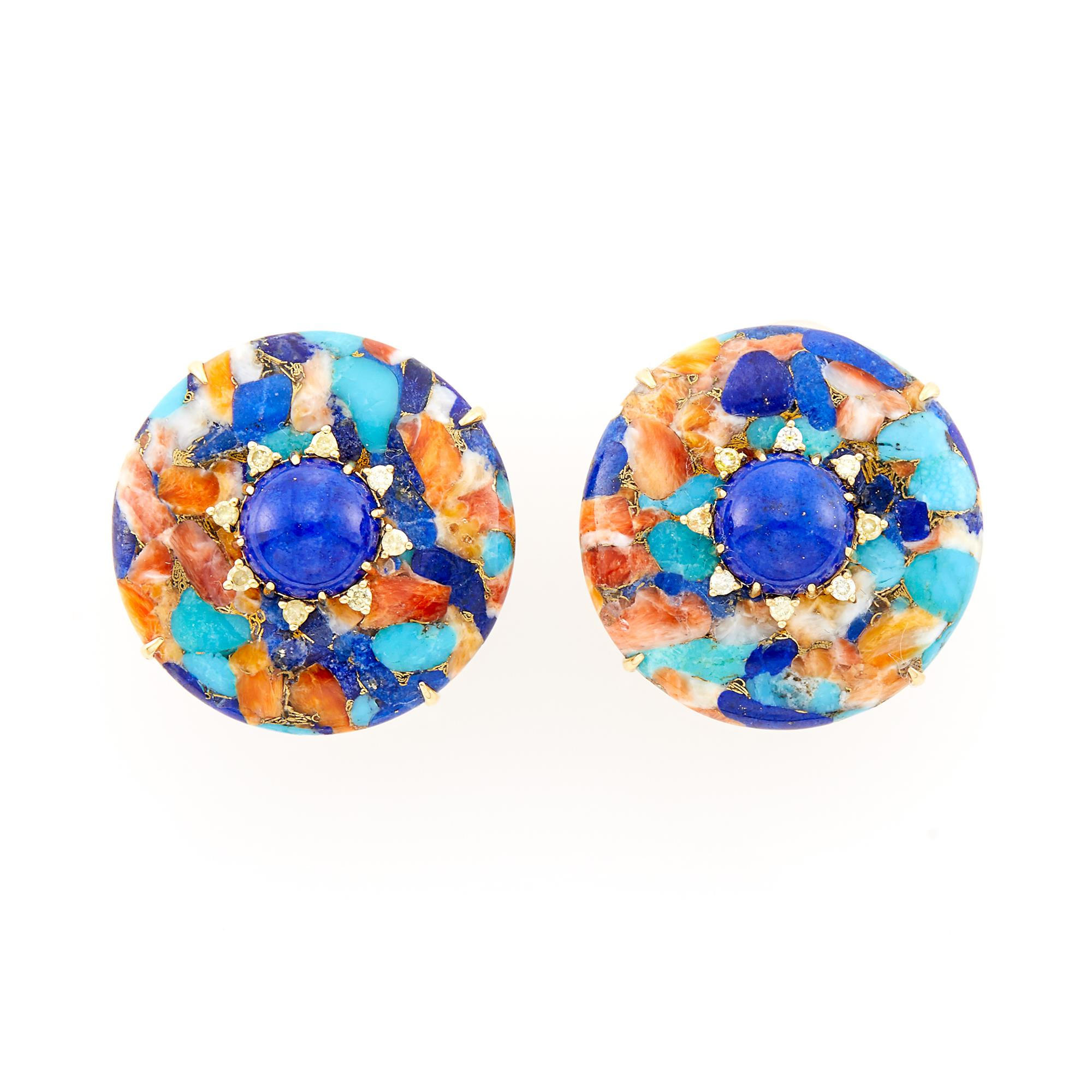 Lot image - Pair of Gold, Lapis, Variegated Hardstone and Diamond Earclips
