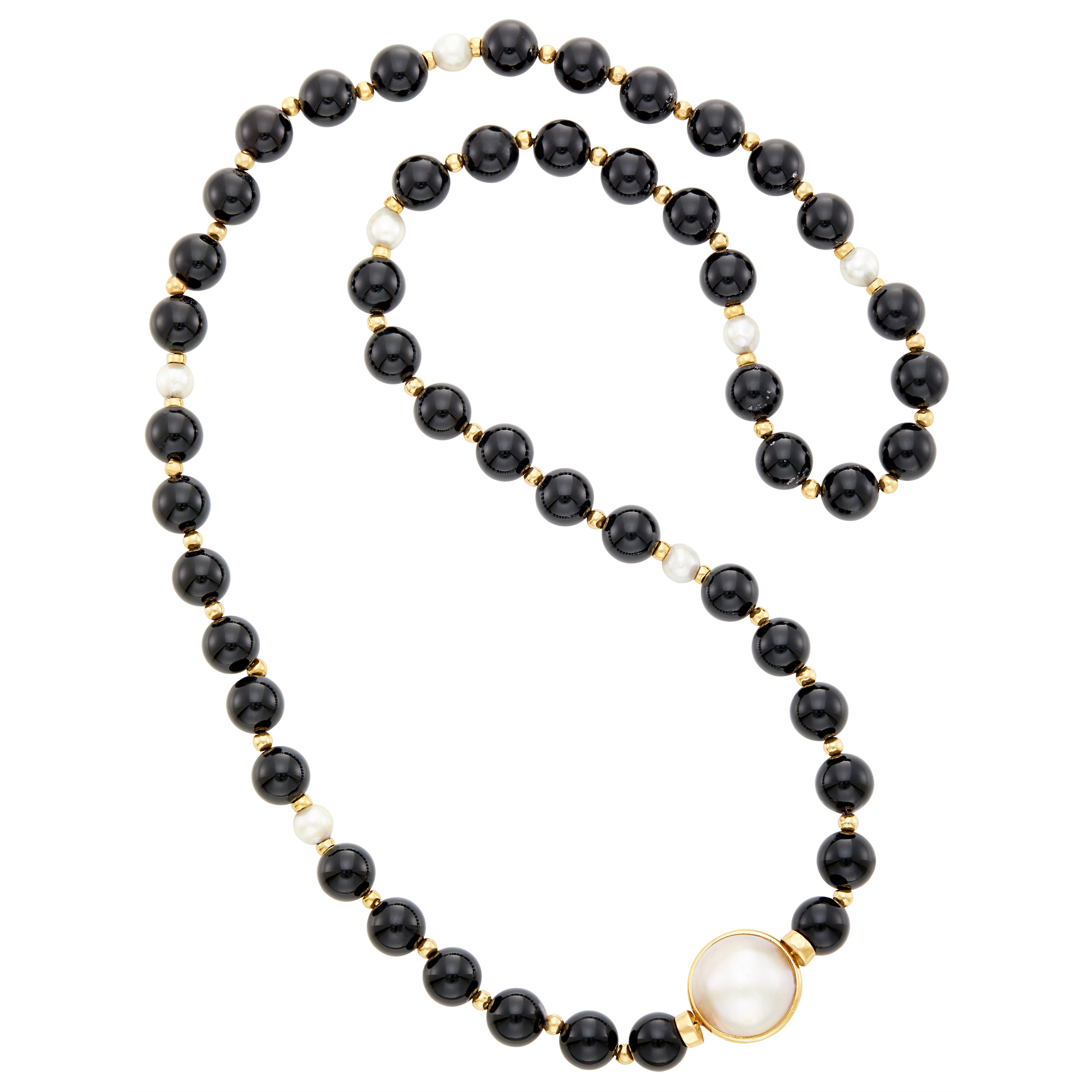 Lot image - Gold, Black Onyx and Gold Bead and Cultured and Mabé Pearl Necklace
