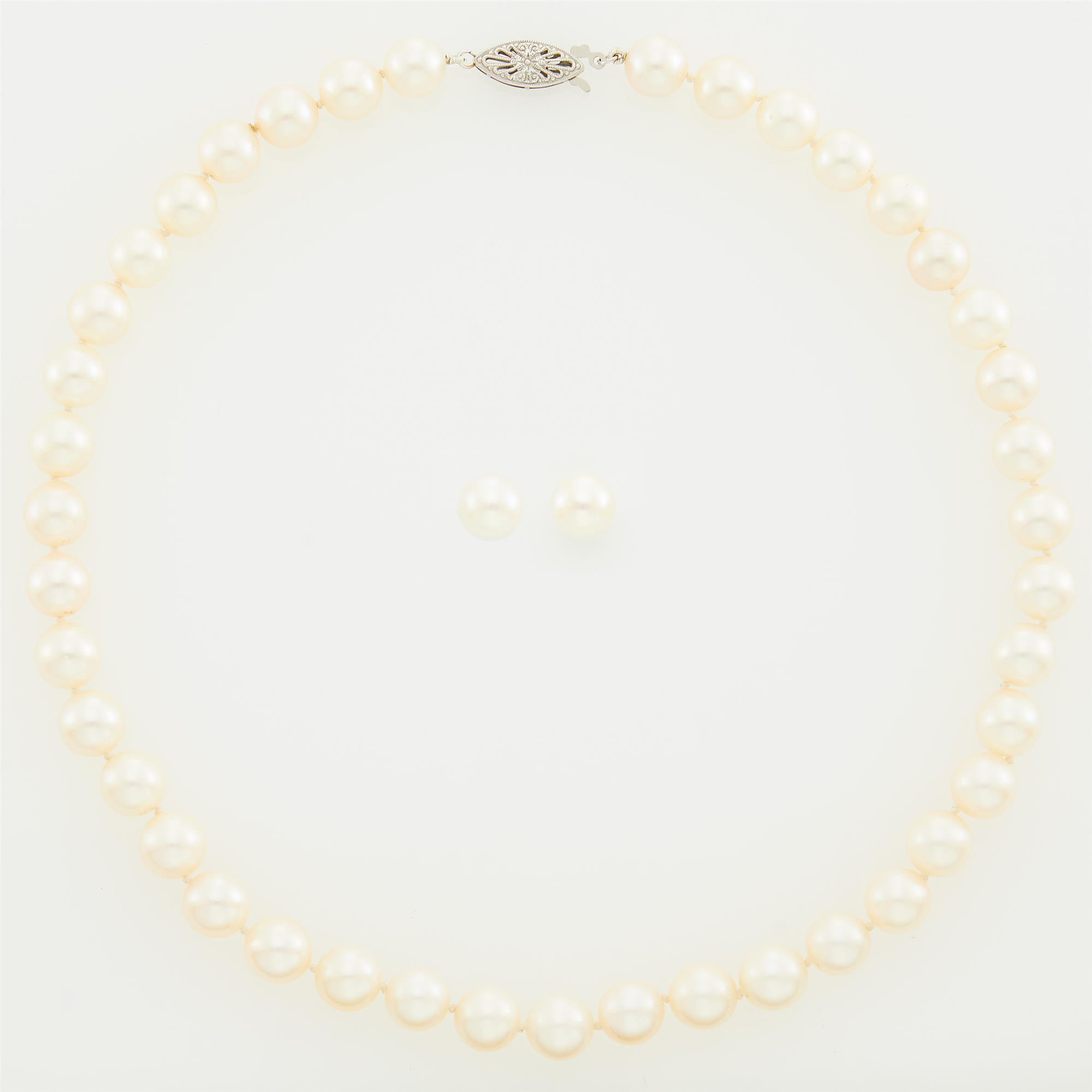 Lot image - Cultured Pearl Necklace and Pair of White Gold and Cultured Pearl Stud Earrings
