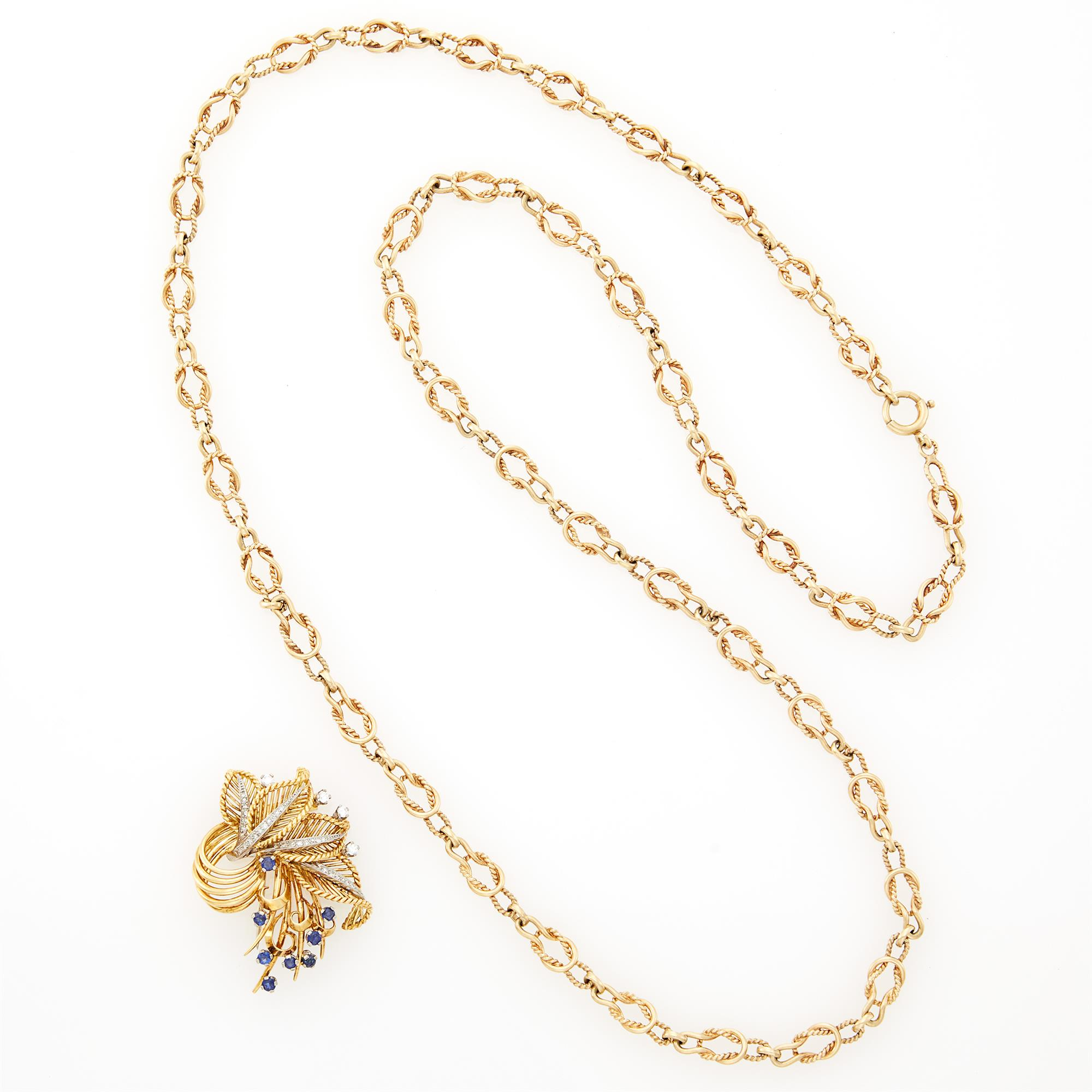 Lot image - Gold, Sapphire and Diamond Clip and Long Gold Chain Necklace