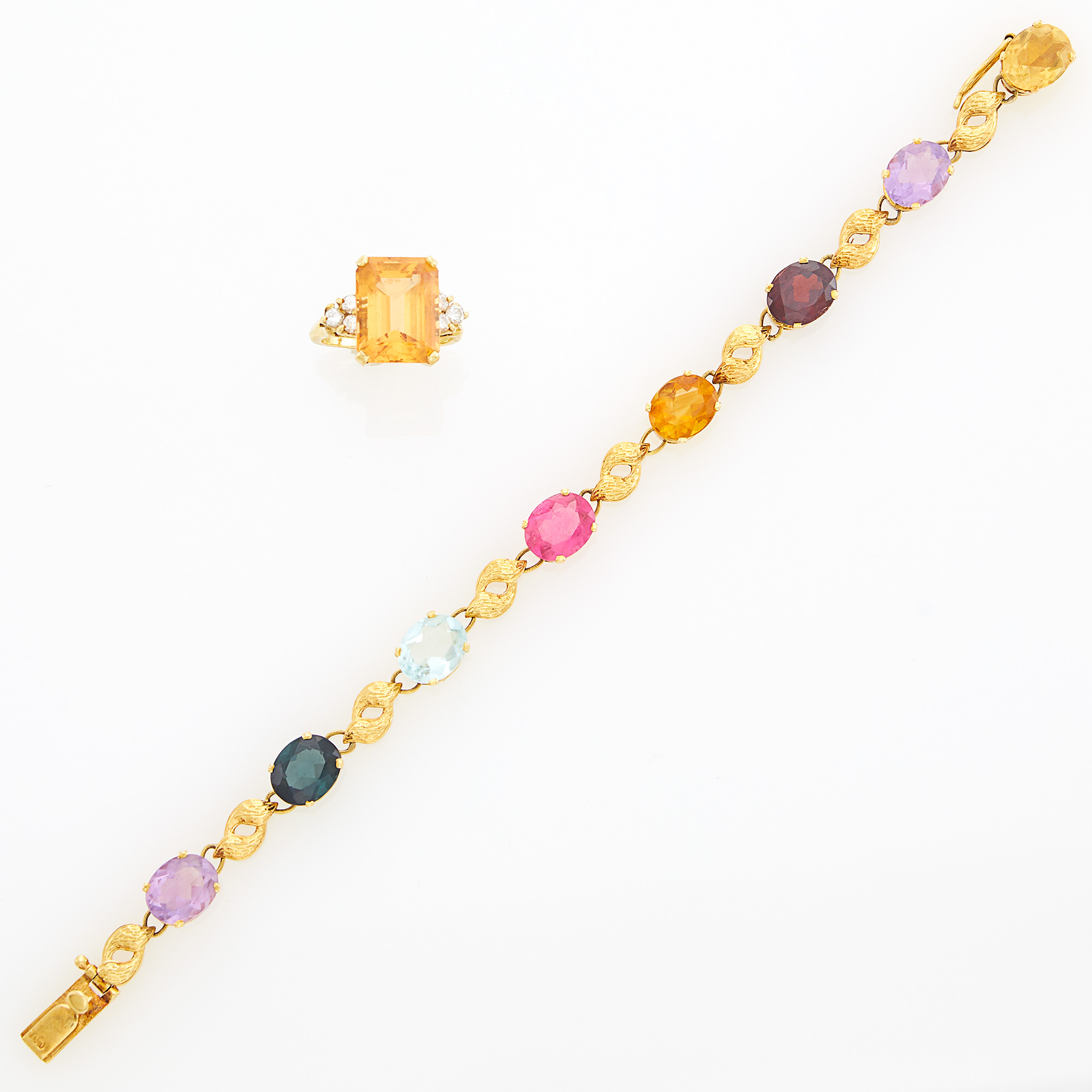 Lot image - Gold, Citrine and Diamond Ring and Gold and Multicolored Stone Bracelet