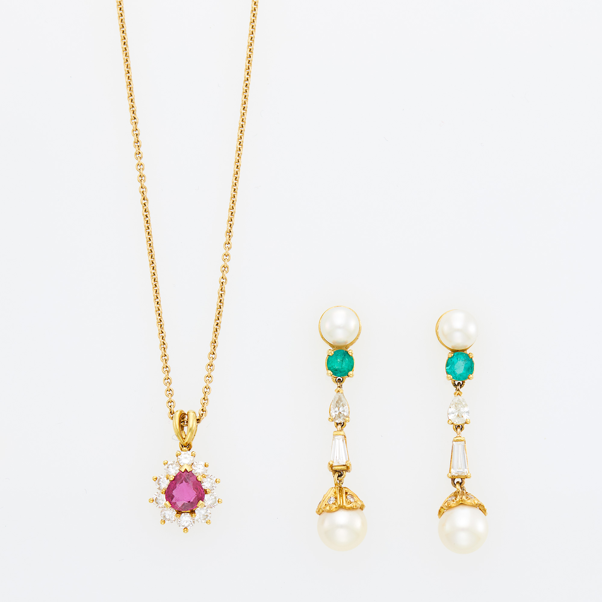 Lot image - Gold, Ruby and Diamond Pendant with Kurt Wayne Chain and Pair of Gold, Cultured Pearl, Emerald and Diamond Pendant-Earrings