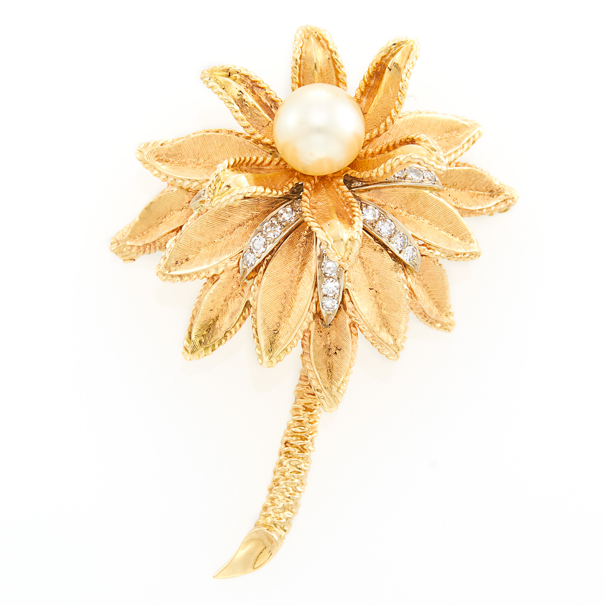 Lot image - Gold, Cultured Pearl and Diamond Flower Brooch
