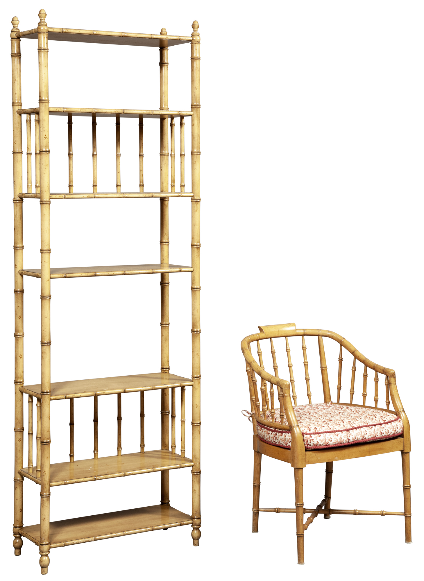 Lot image - Faux Bamboo Painted Six-Tier Étagère by John Widdicomb