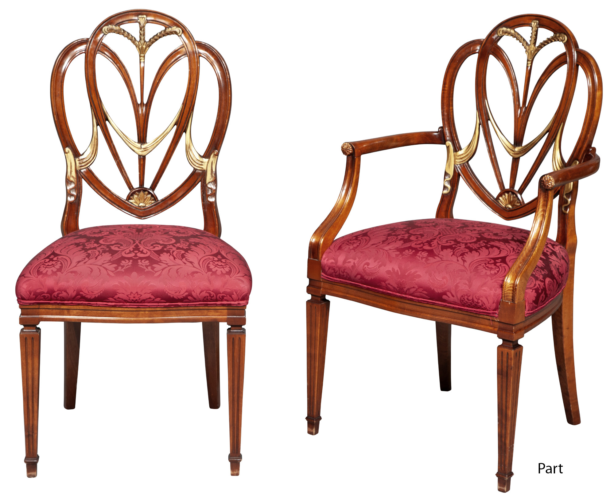 Lot image - Set of Eight George III Style Stained Beechwood and Parcel-Gilt Dining Chairs