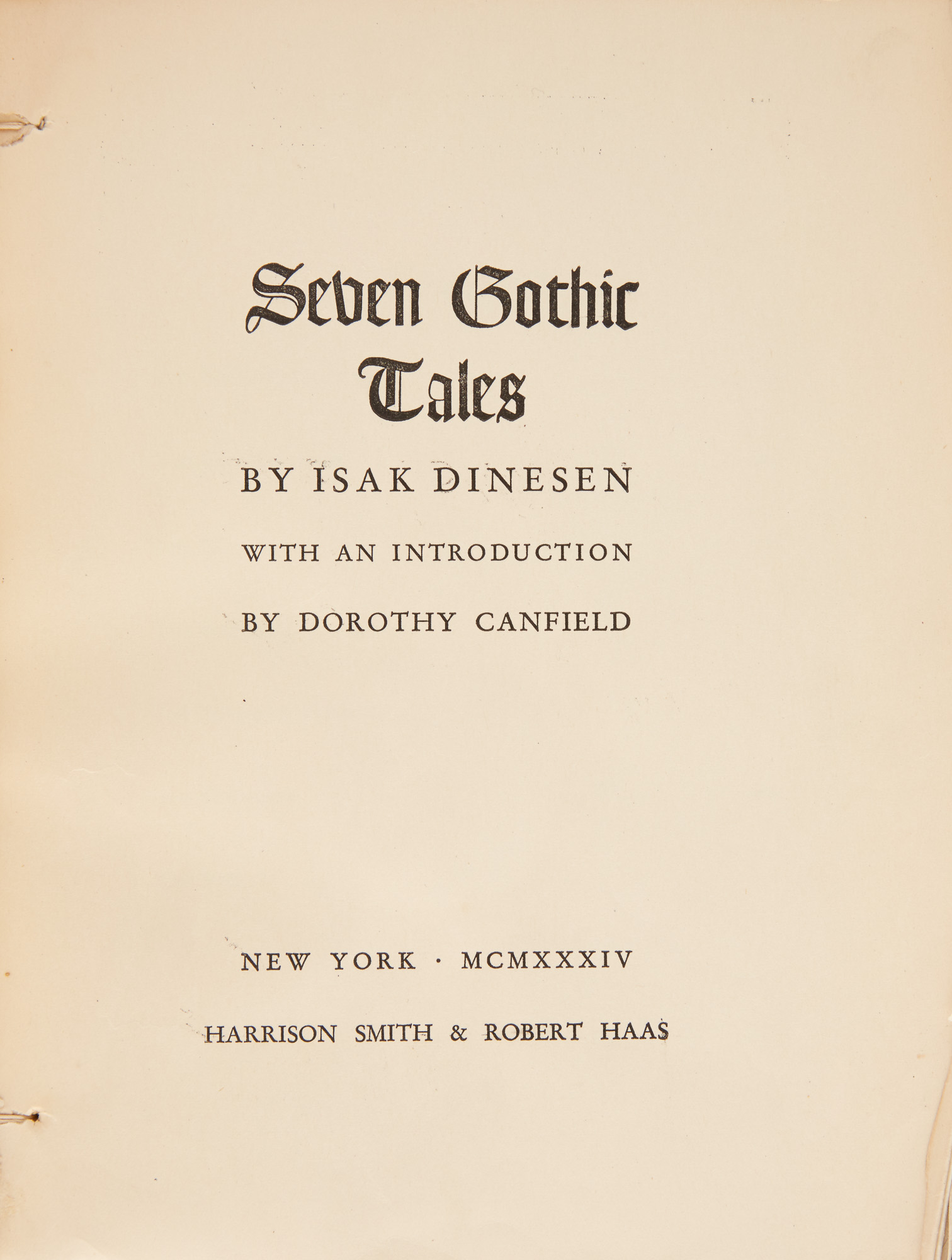 Lot image - DINESEN, ISAK [BLIXEN, KAREN]  Galley or proof copy of the American first edition of Seven Gothic Tales.