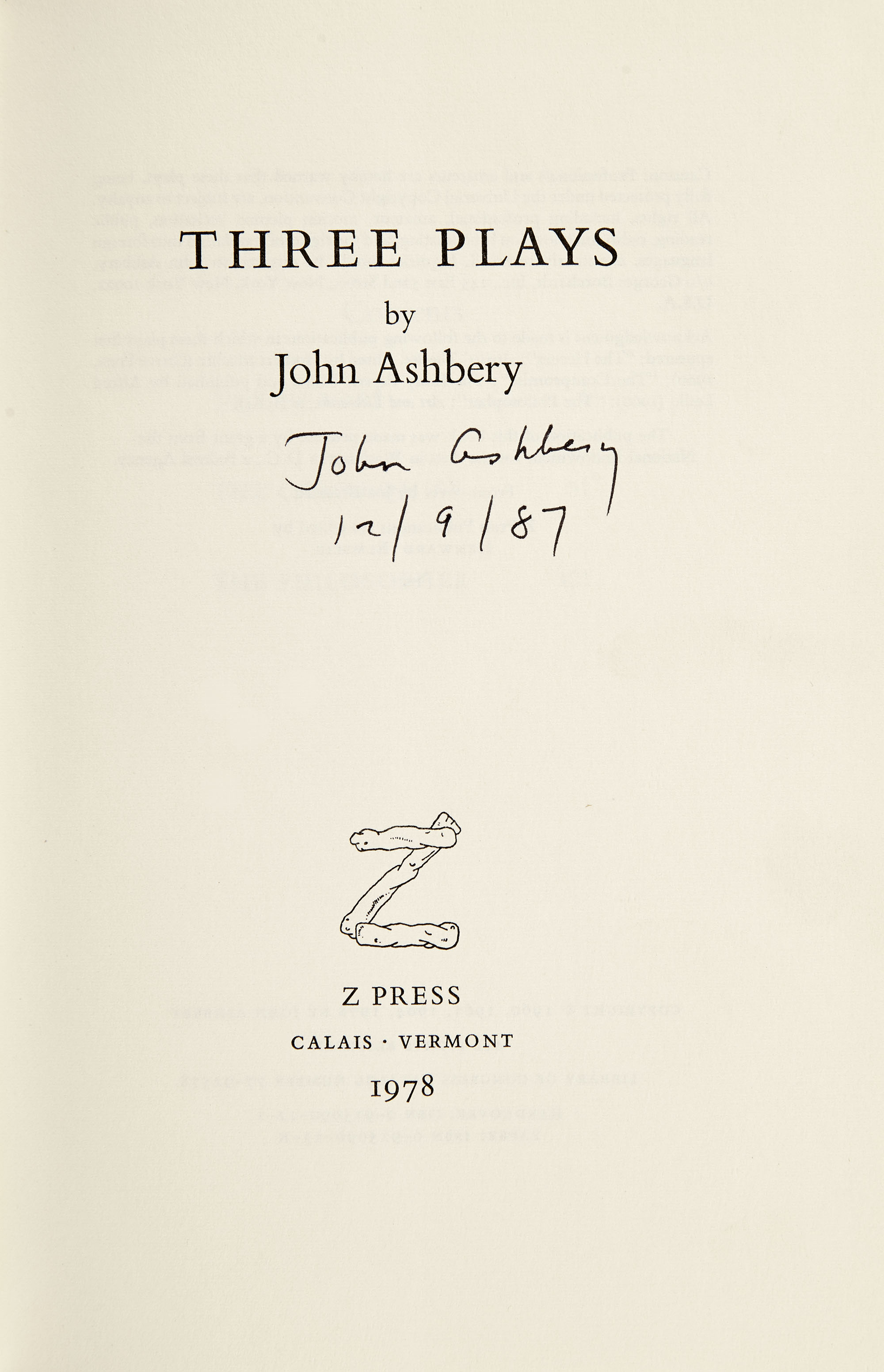 Lot image - ASHBERY, JOHN  Two signed works.