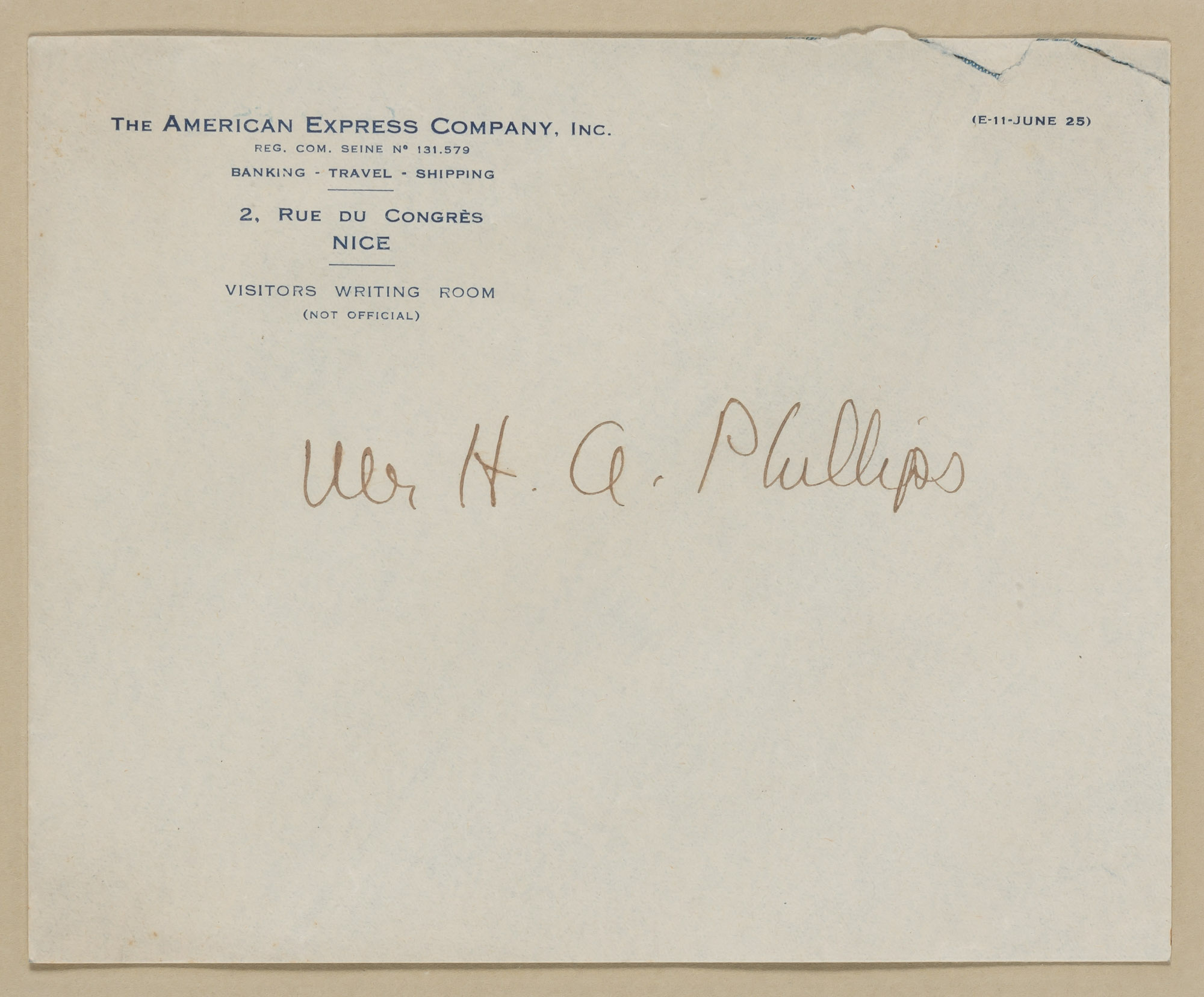 Lot image - [FITZGERALD, F. SCOTT]  Envelope addressed to Mr. H. A. Phillips in Fitzgeralds hand.