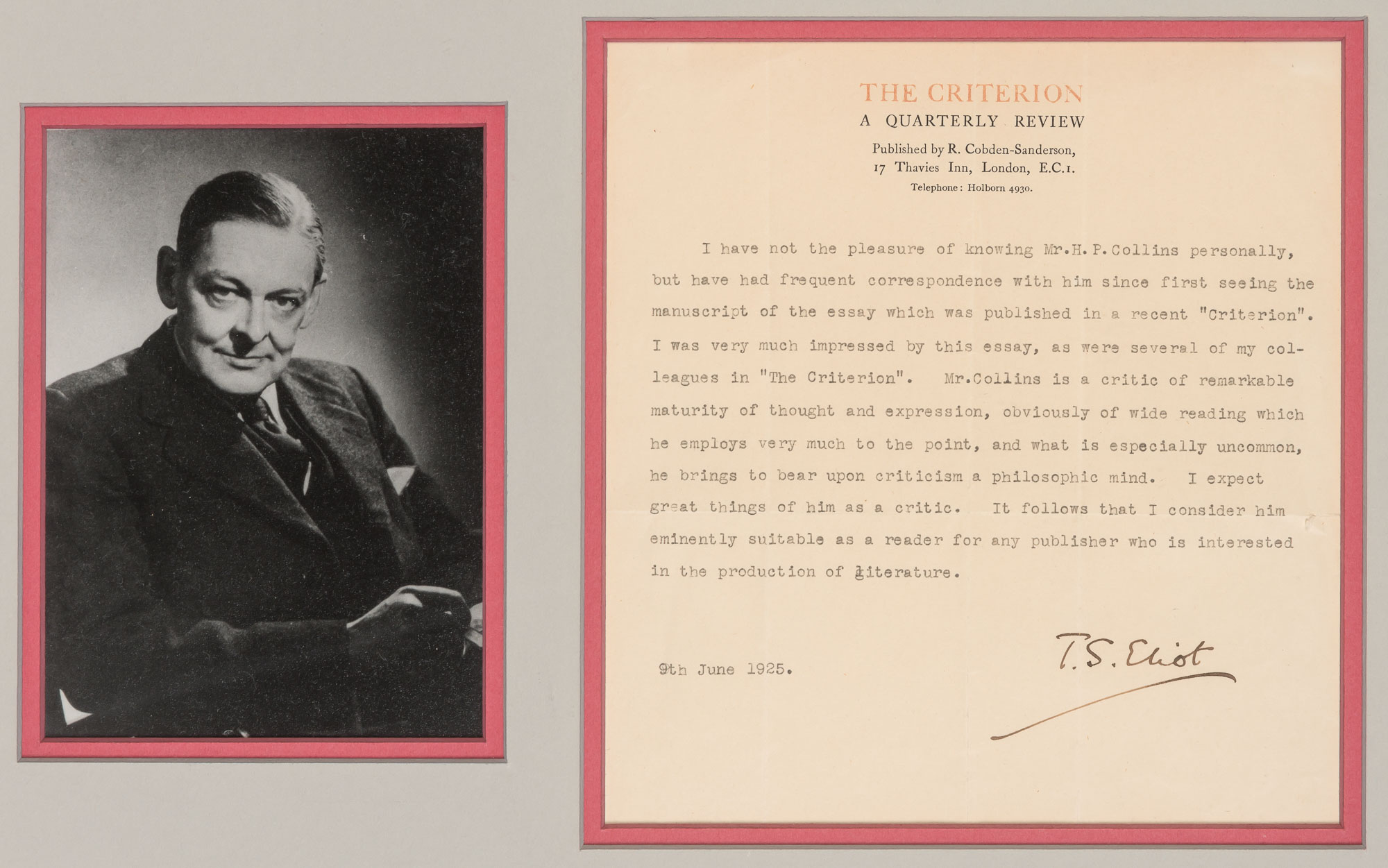 Lot image - ELIOT, THOMAS STEARNS  Typed letter signed, 1925.