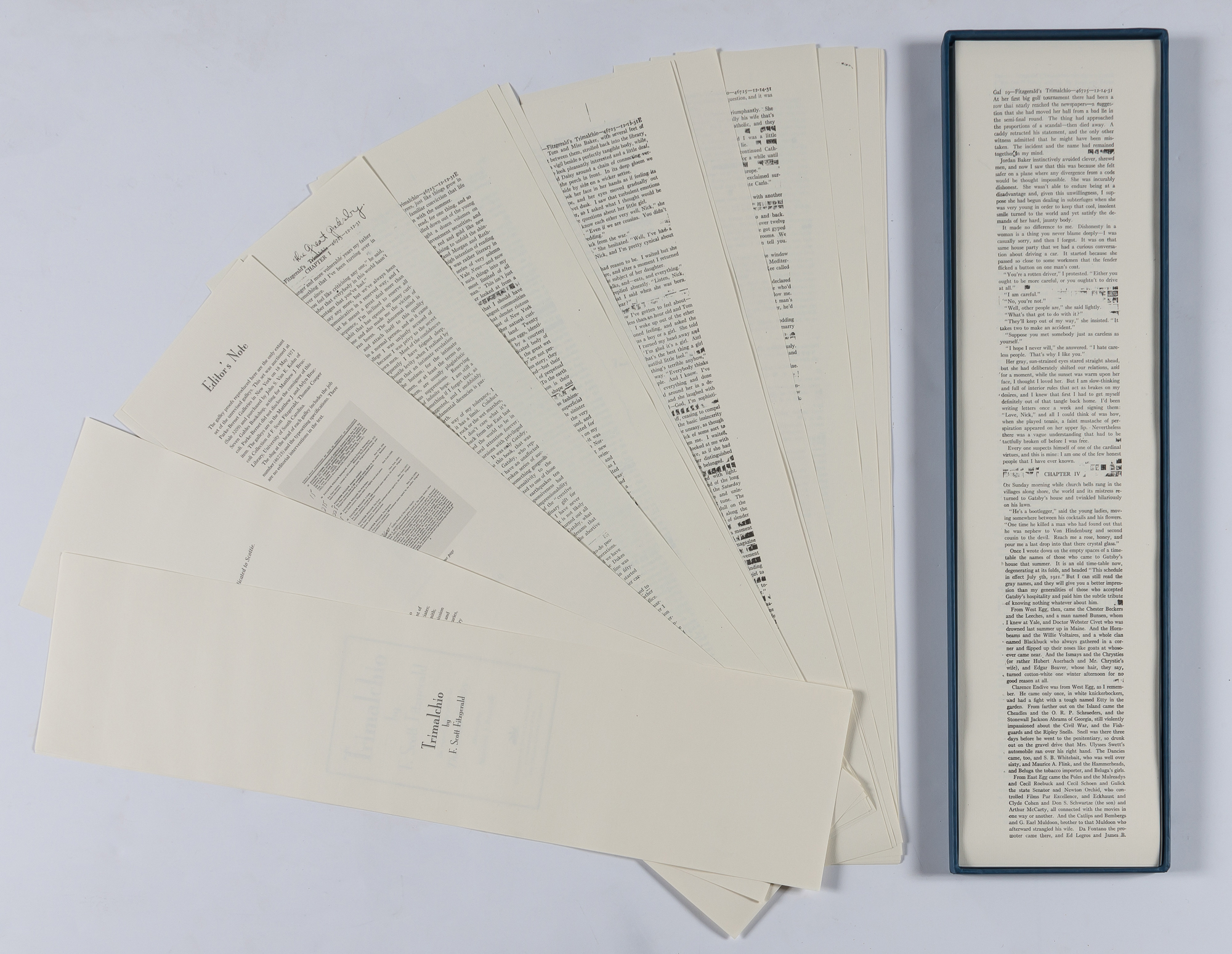 Lot image - FITZGERALD, F. SCOTT  Trimalchio. A Facsimile edition of the original galley proofs for The Great Gatsby.