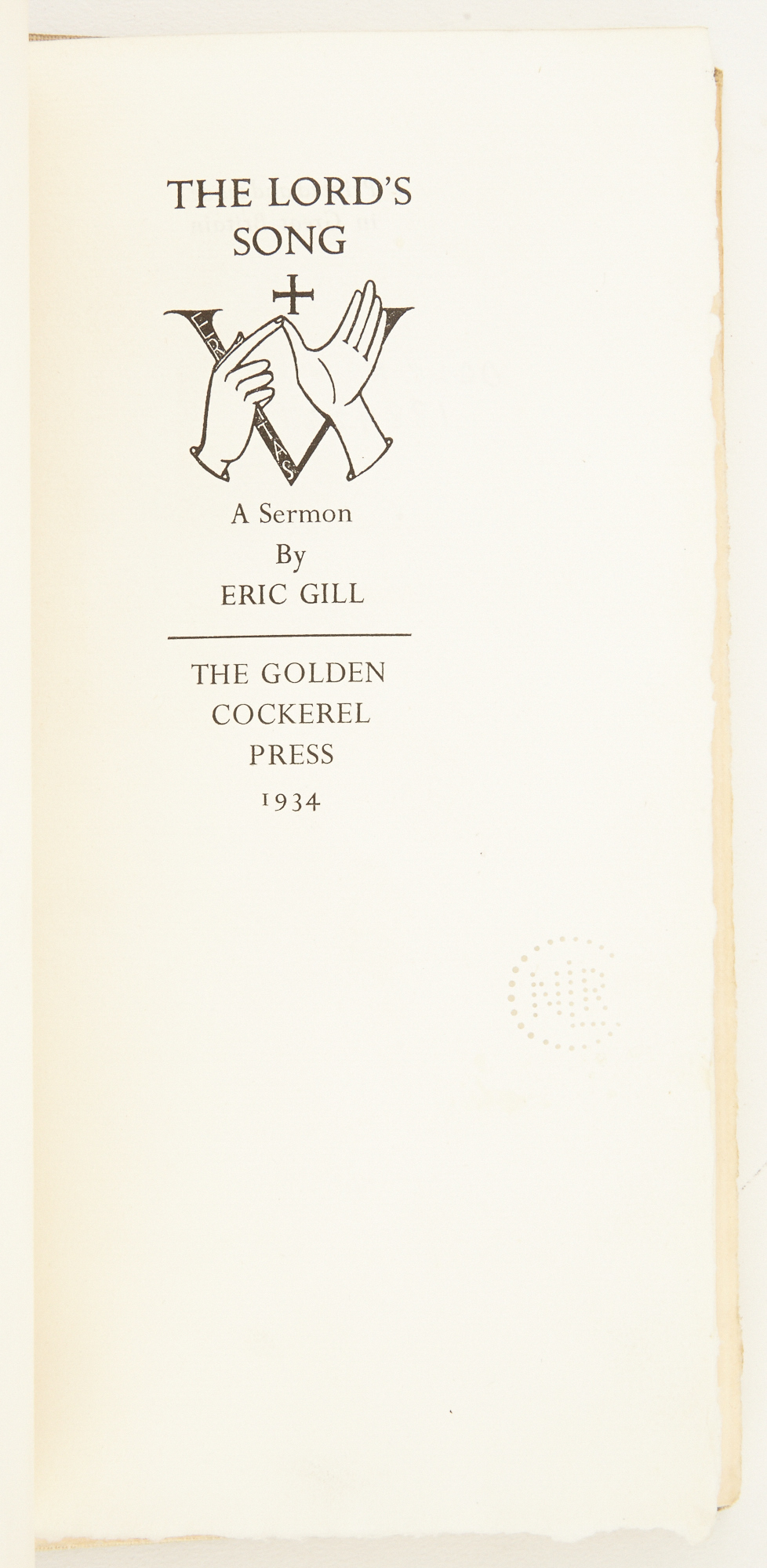 Lot image - [GILL, ERIC] GOLDEN COCKEREL PRESS  The Lords Song.