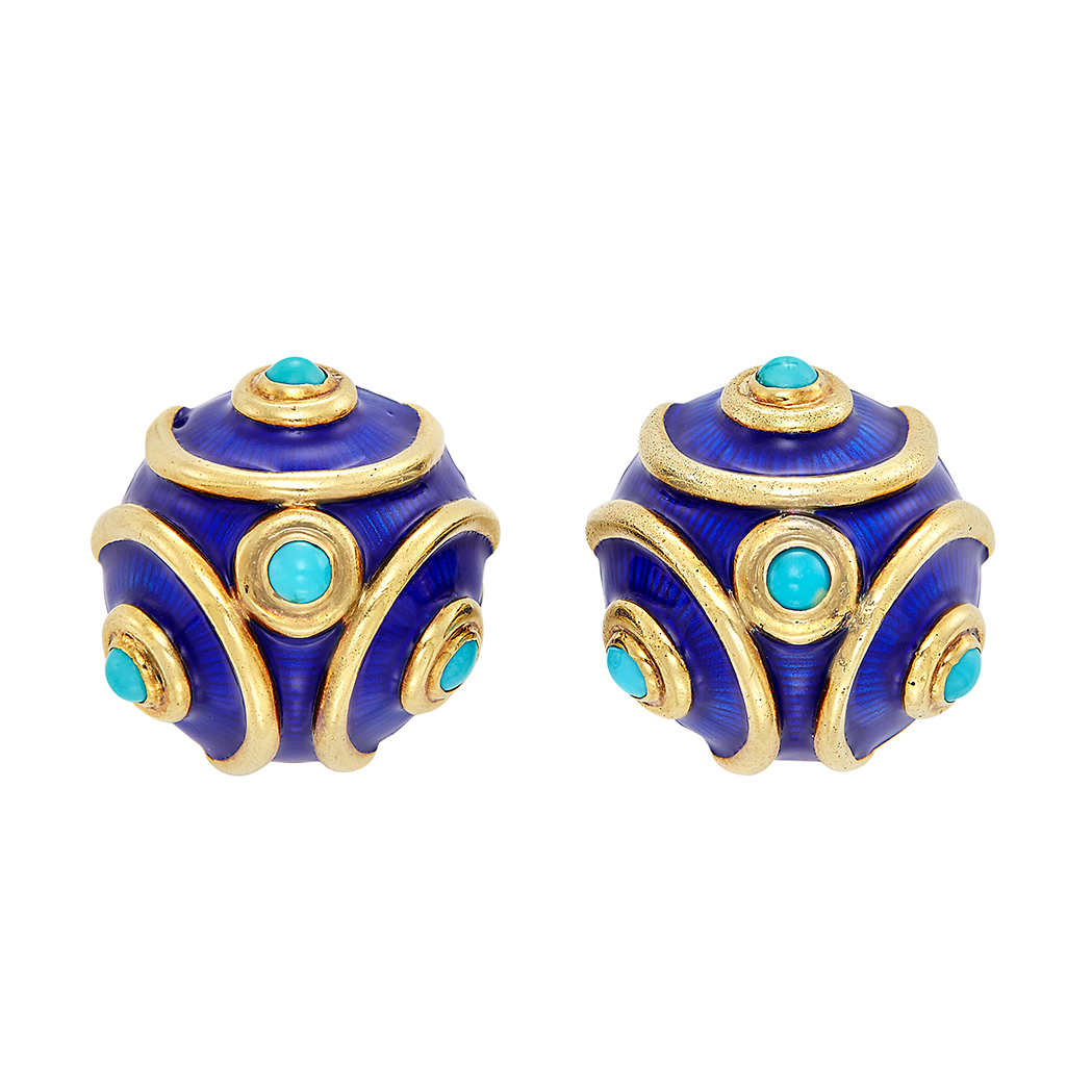 Lot image - Pair of Gold, Blue Enamel and Turquoise Earclips, Tiffany & Co.