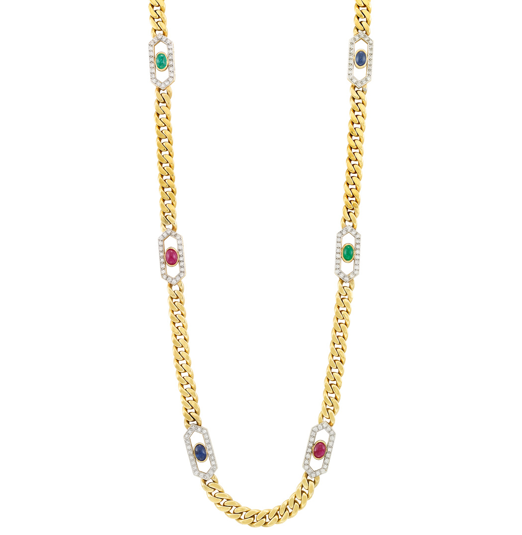 Lot image - Long Gold, Diamond and Cabochon Colored Stone Curb Link Necklace