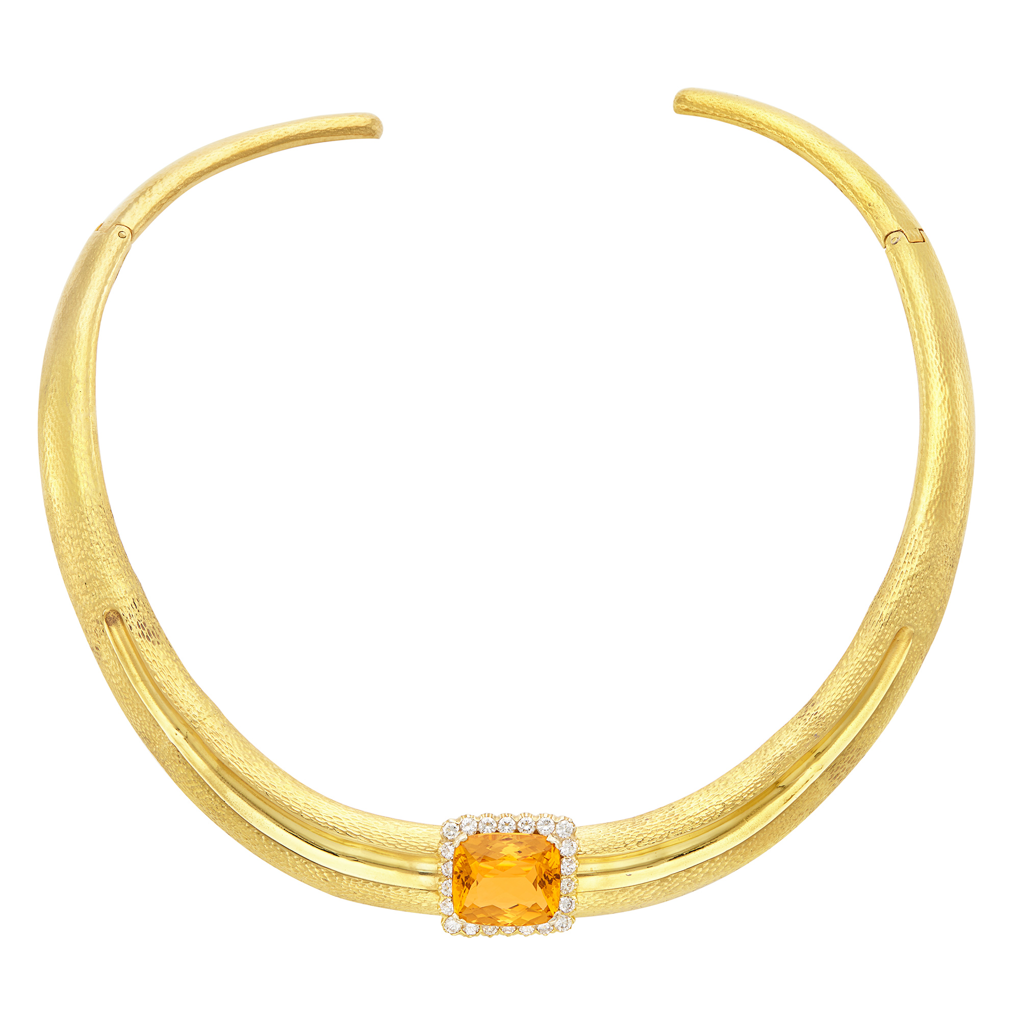 Lot image - Hammered Gold, Citrine and Diamond Collar Necklace