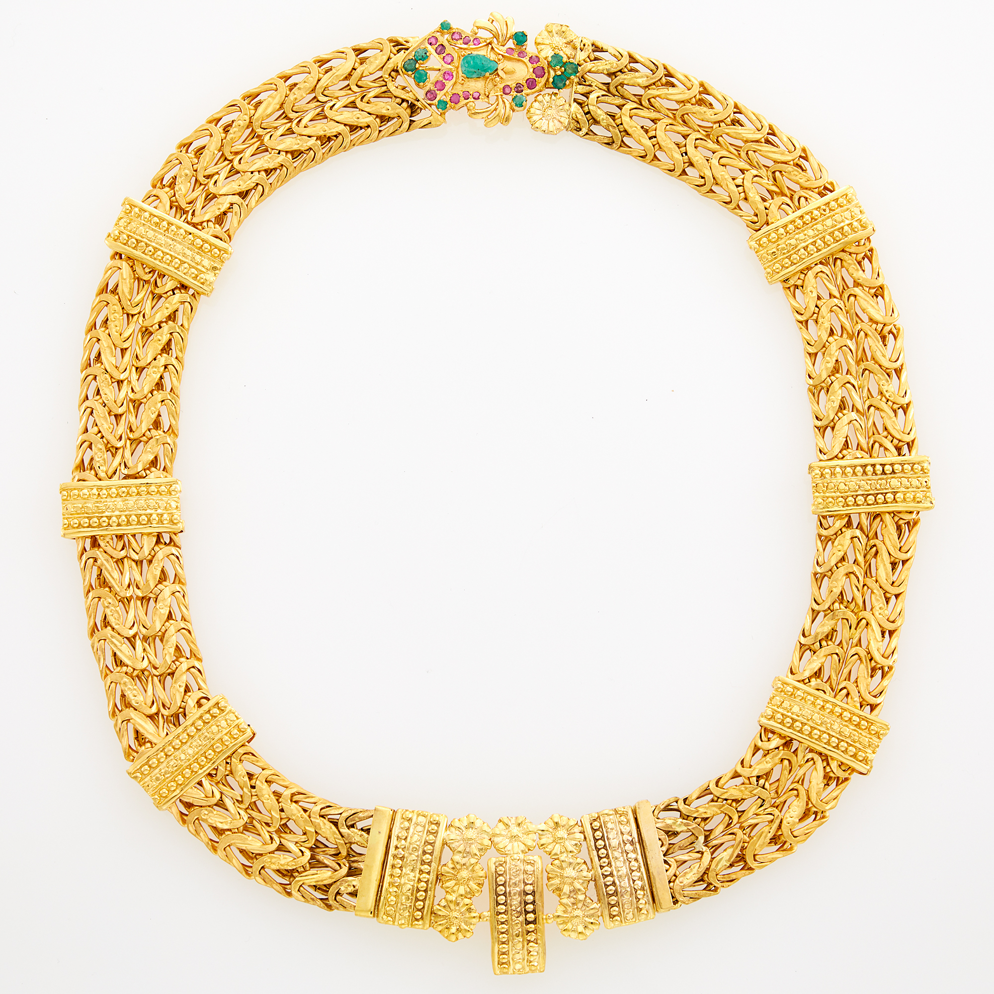 Lot image - Indian High Karat Gold Necklace with Gem-Set Clasp