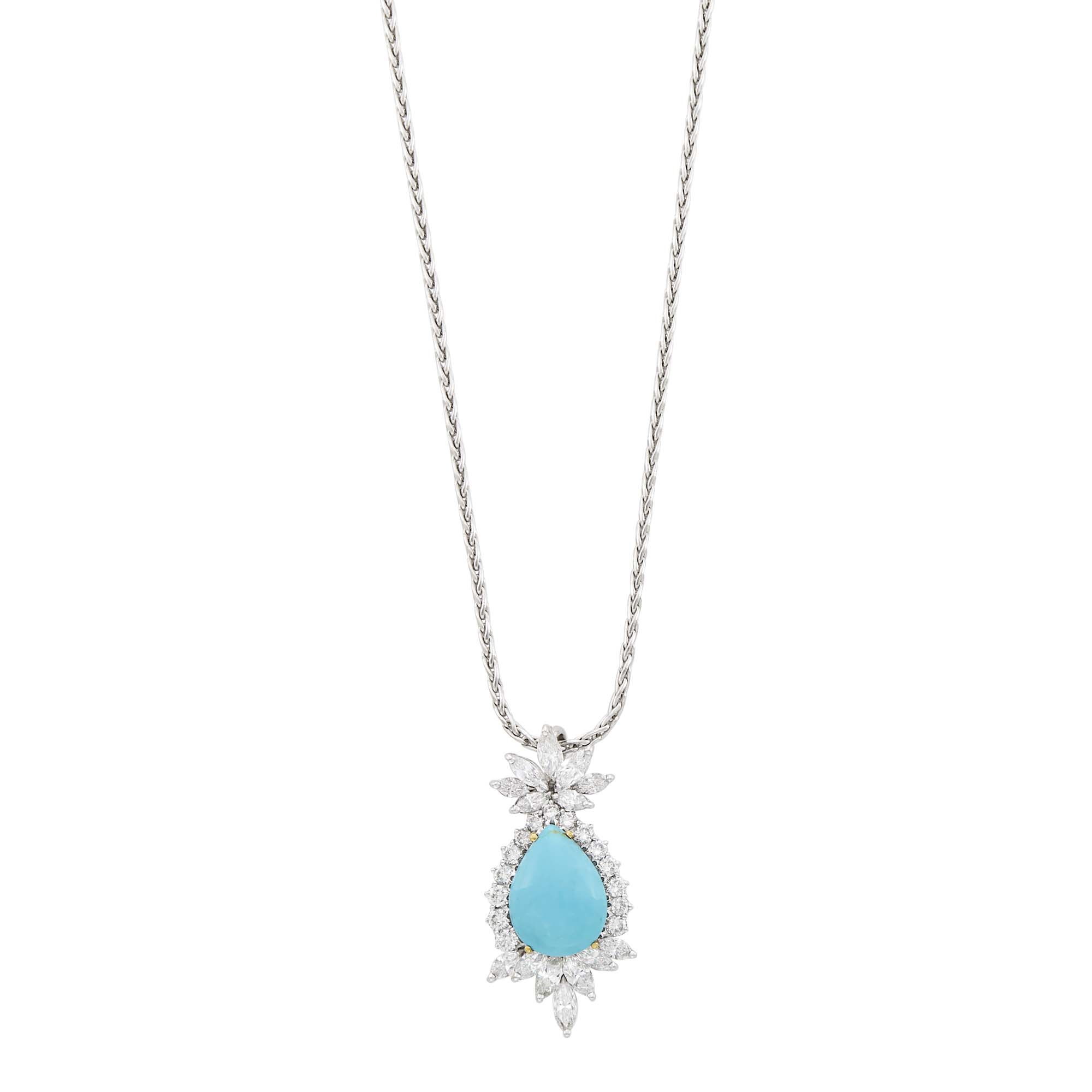 Lot image - White Gold, Turquoise and Diamond Pendant with Chain Necklace