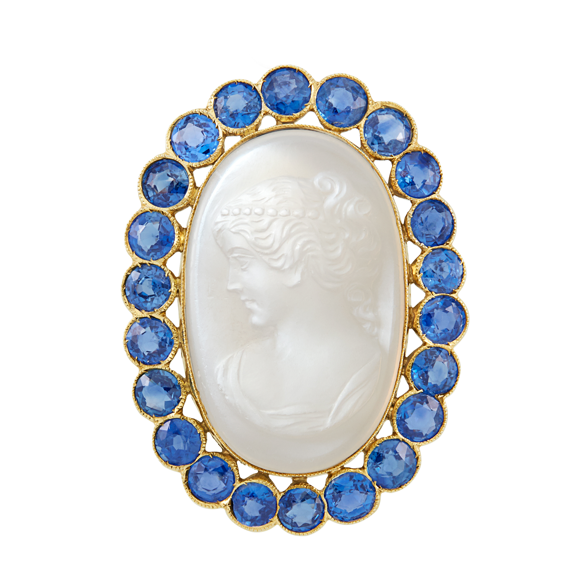 Lot image - Gold, Carved Moonstone and Sapphire Brooch