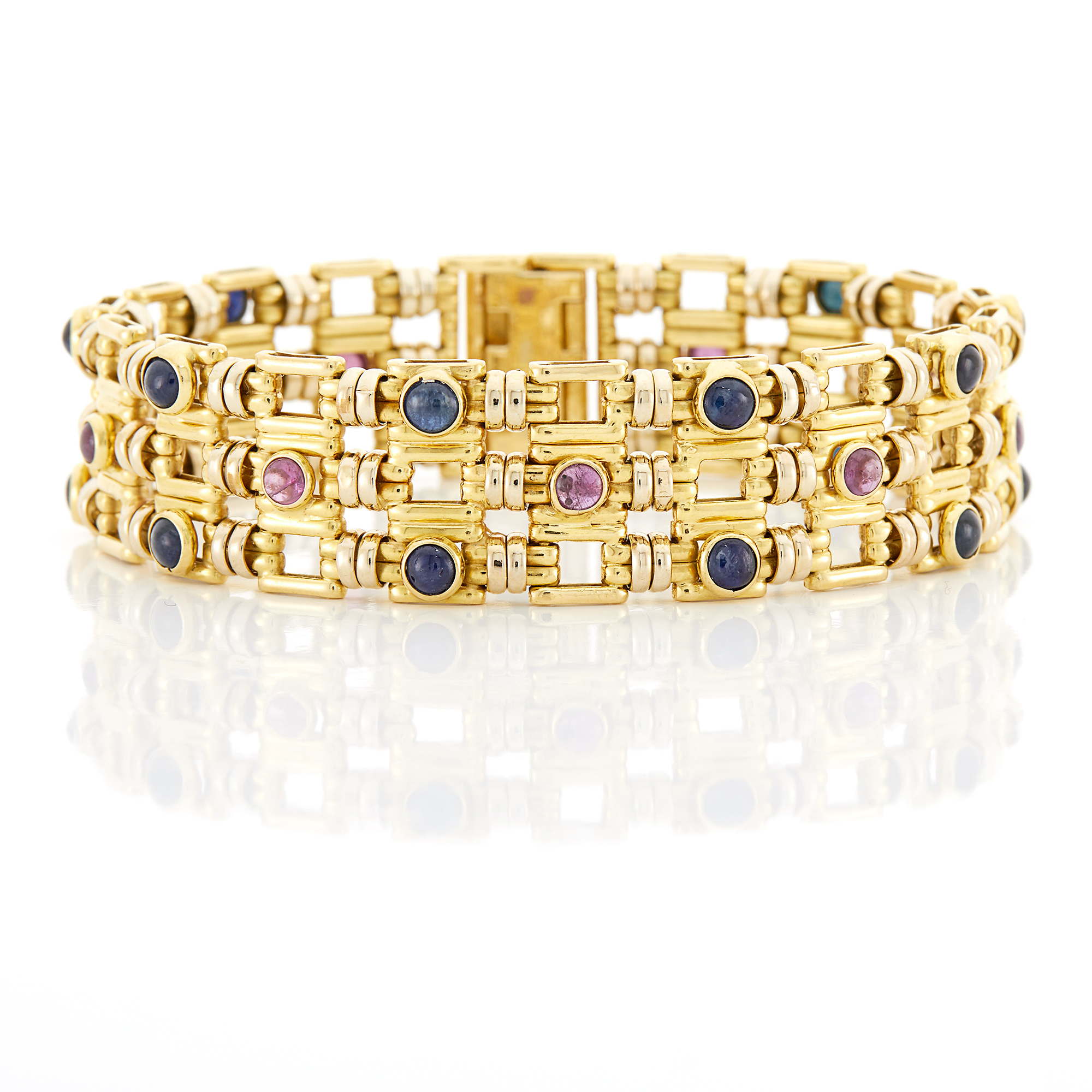 Lot image - Gold, Cabochon Sapphire and Ruby Bracelet