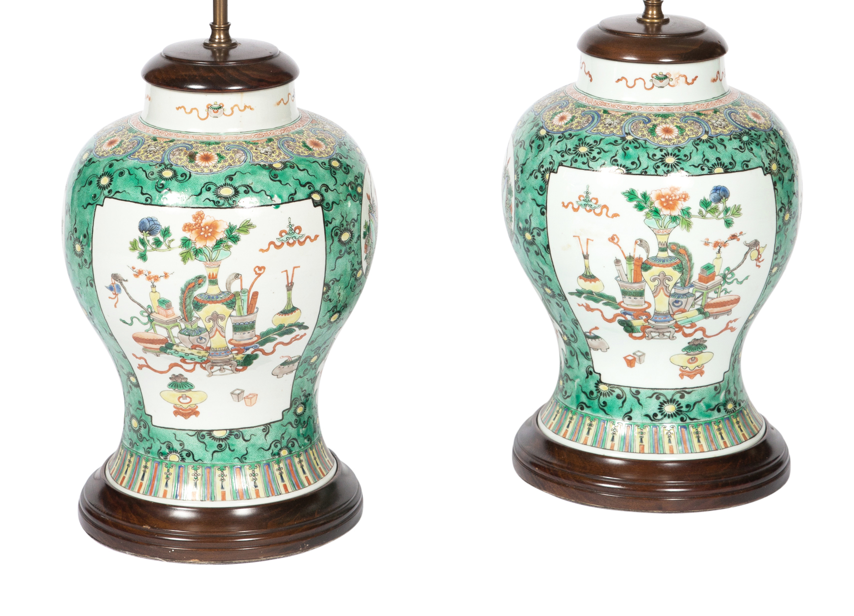 Lot image - Pair of Chinese Famille Verte Porcelain Baluster Jars