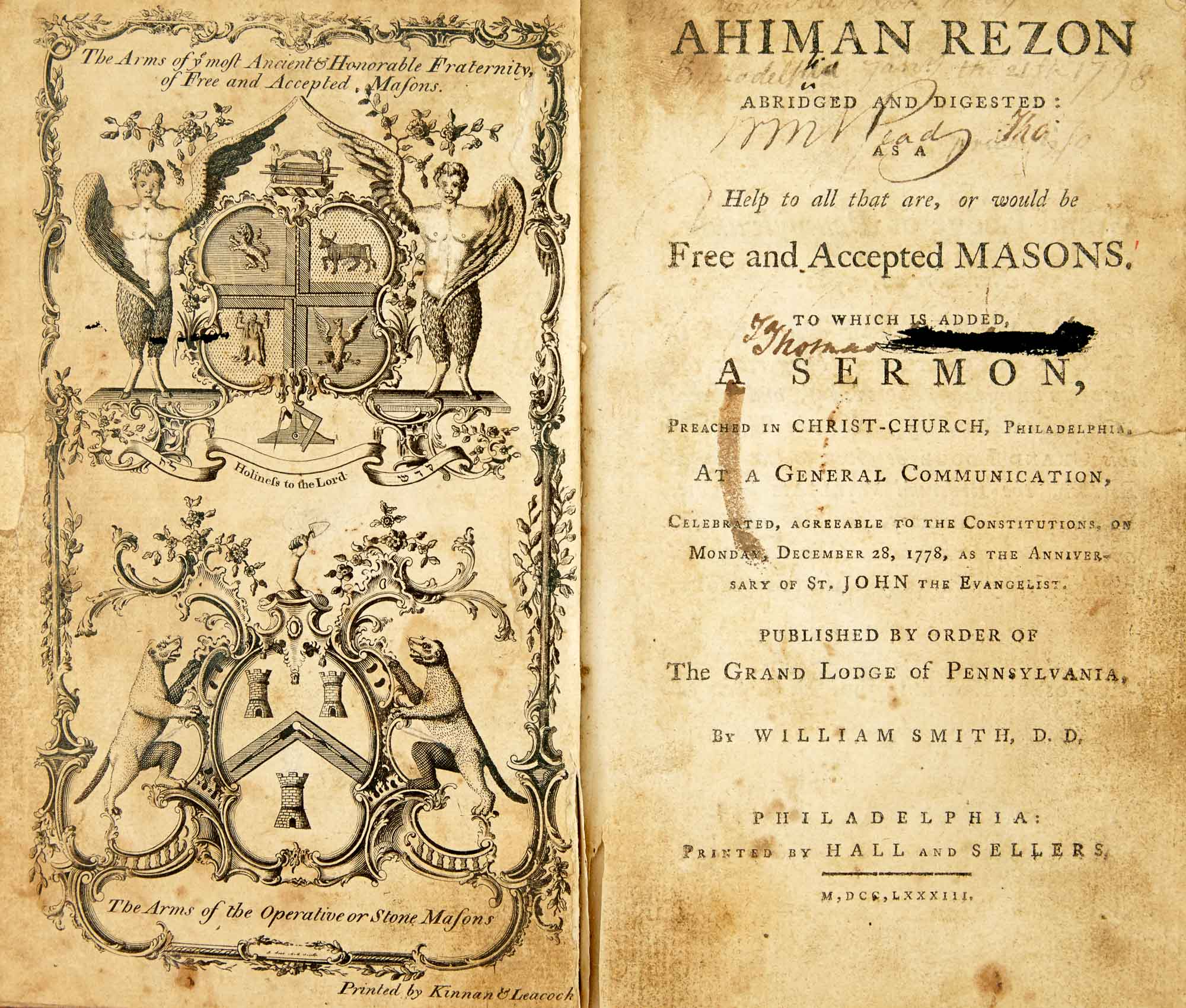 Lot image - [FREEMASONRY - DERMOTT, LAURENCE]  SMITH, WILLIAM. Ahiman Rezon Abridged and Digested: as a Help to all that are, or would be, Free and Accepted Masons.