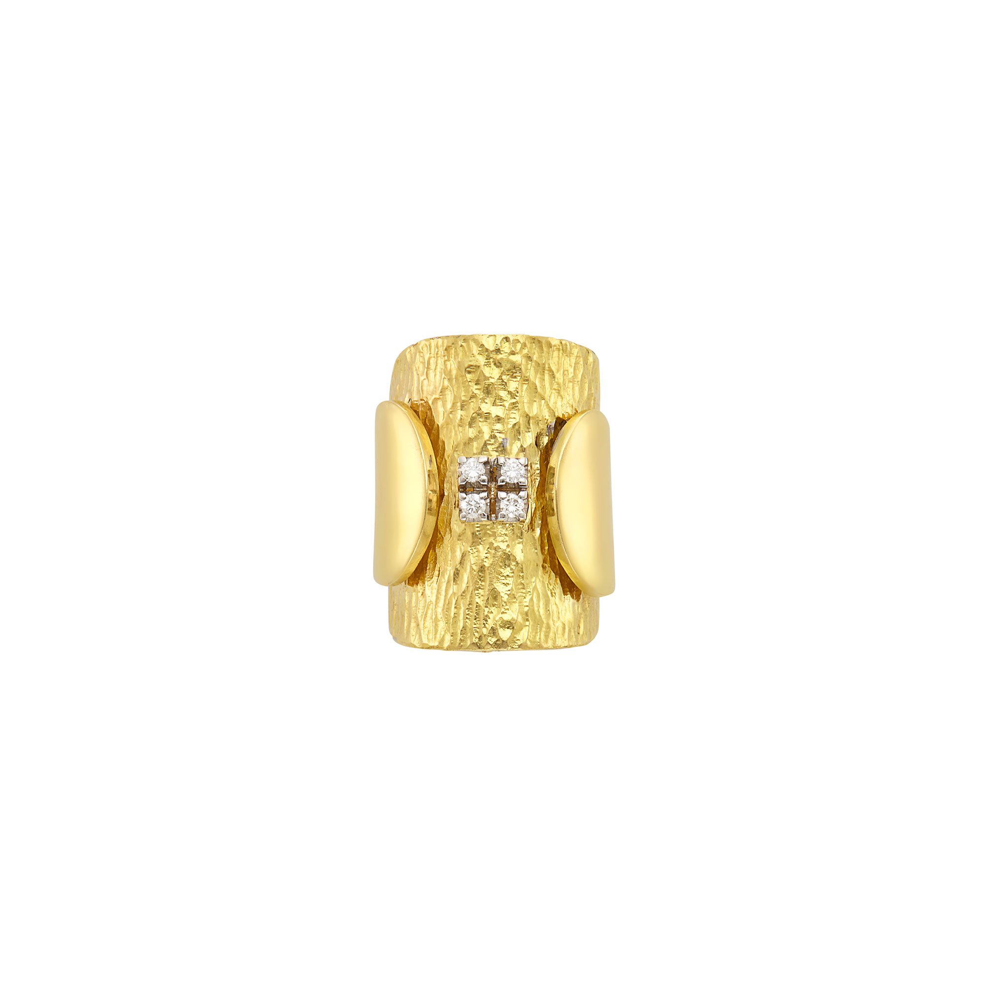 Lot image - Wide Hammered Gold and Diamond Ring