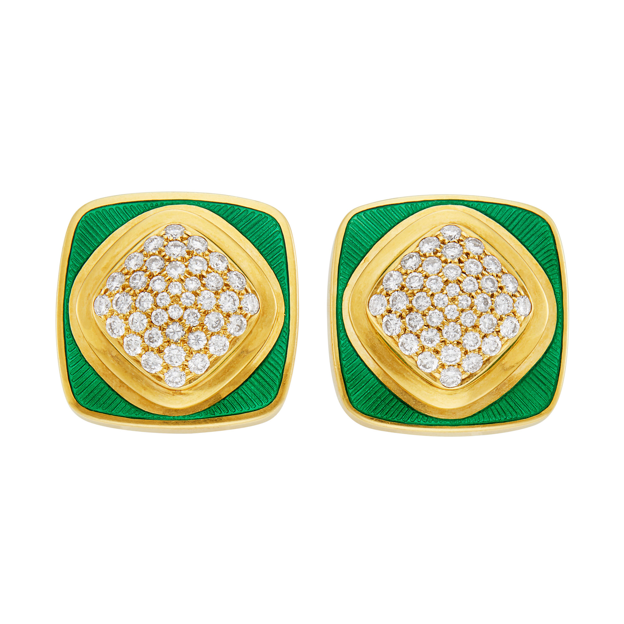 Lot image - Pair of Gold, Diamond and Green Enamel Earclips, De Vroomen