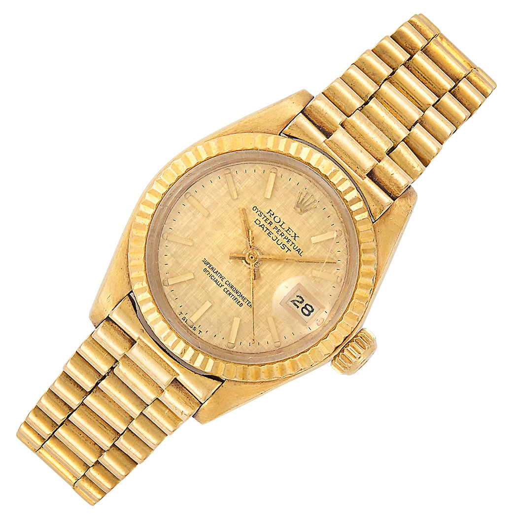 Lot image - Gold Oyster Perpetual DateJust Wristwatch, Rolex, Ref. 6900