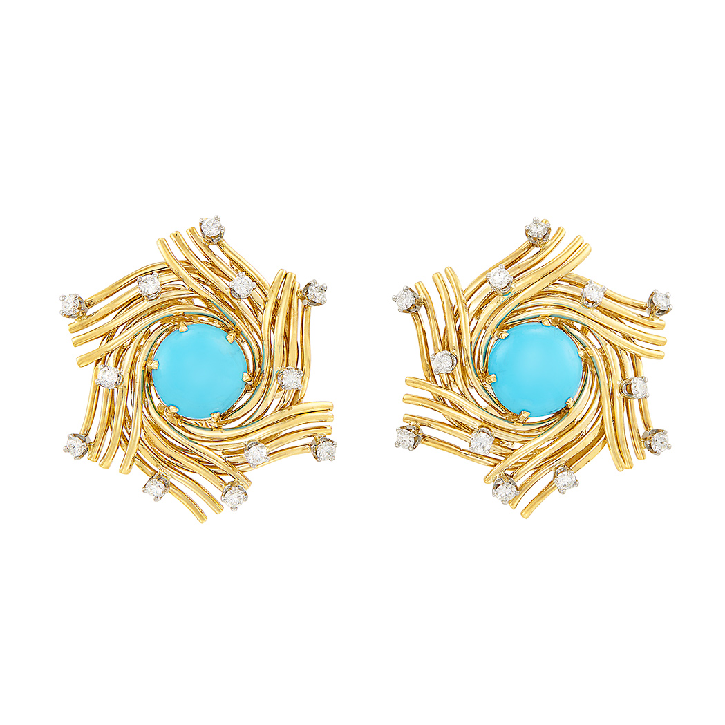 Lot image - Pair of Gold, Platinum, Turquoise and Diamond Earclips, Tiffany & Co., Schlumberger
