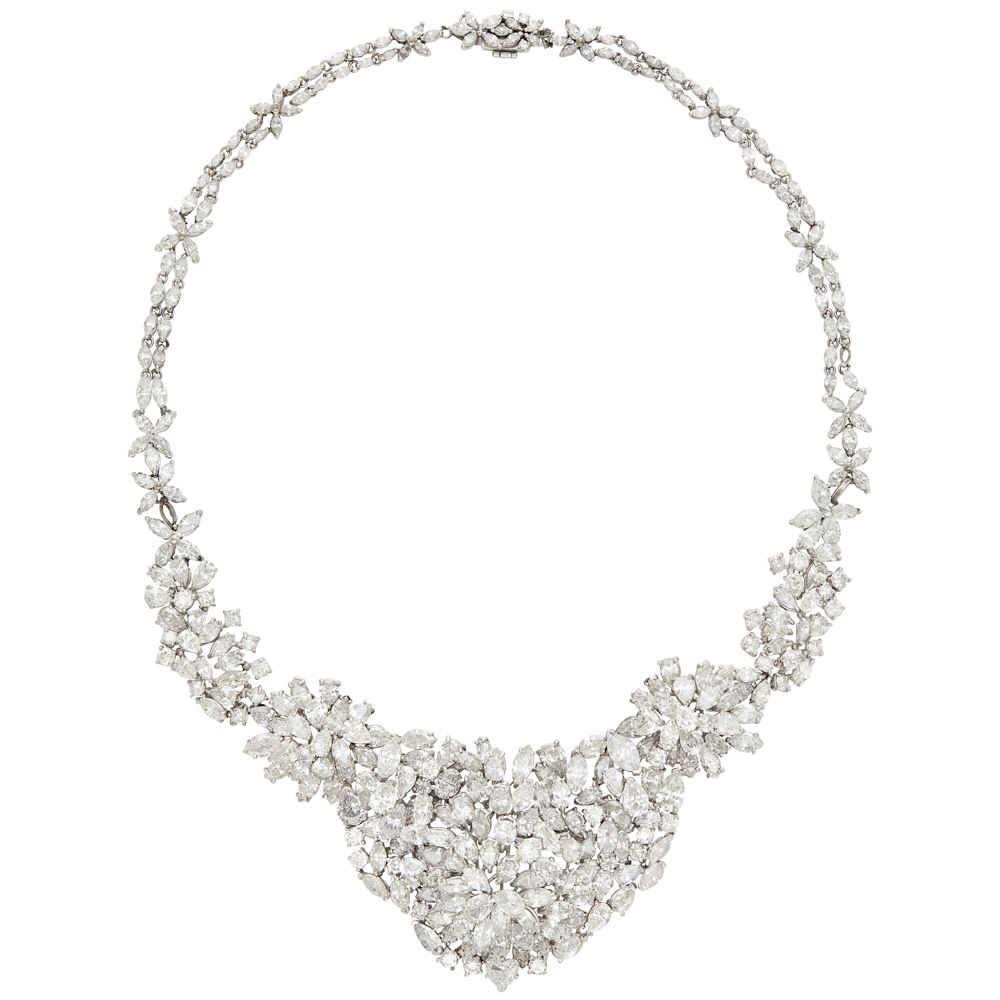 Lot image - Platinum and Diamond Cluster Necklace