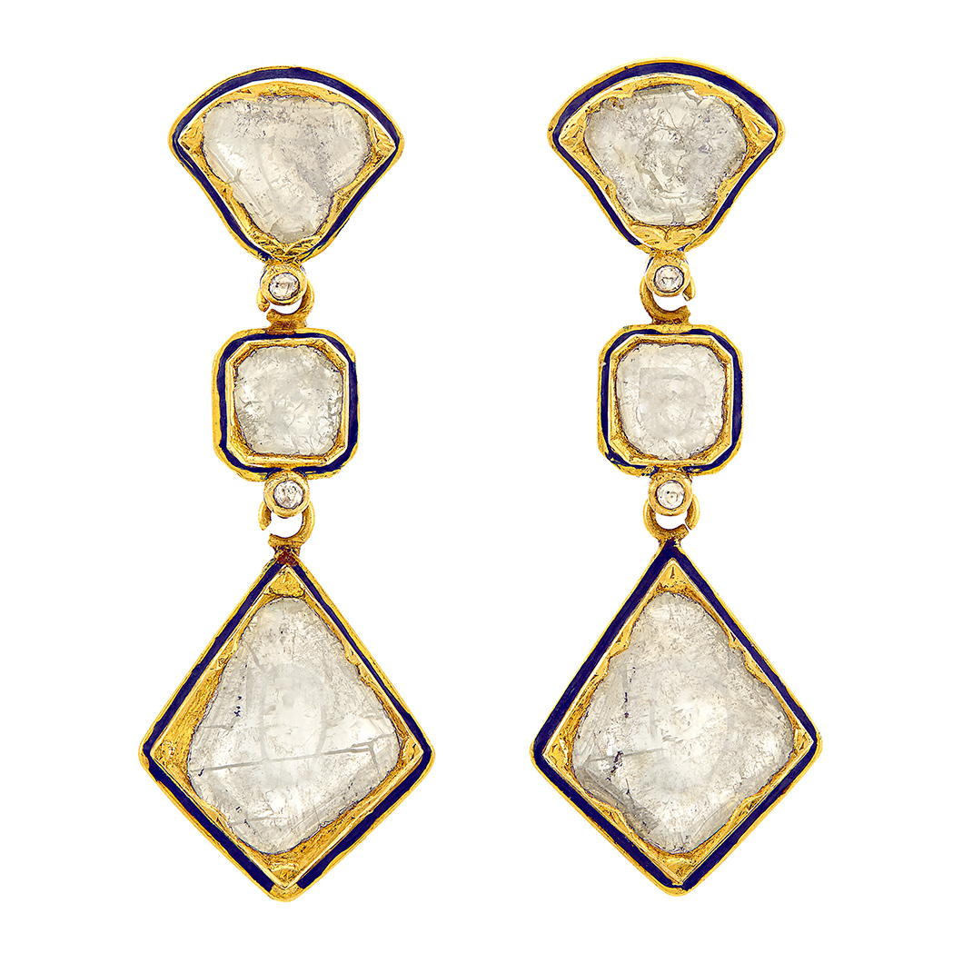 Lot image - Pair of Indian Gold, Foiled-Back Diamond, Enamel, and Jaipur Enamel Pendant-Earrings