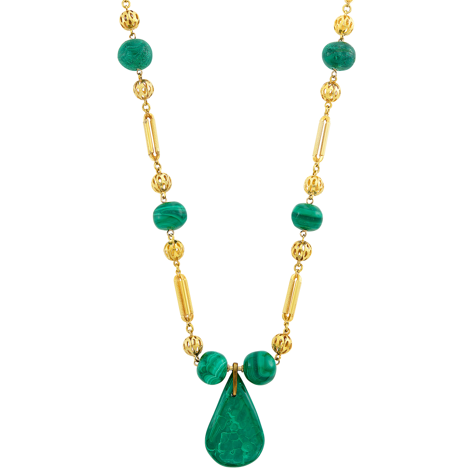 Lot image - Gold and Malachite Bead Pendant-Necklace